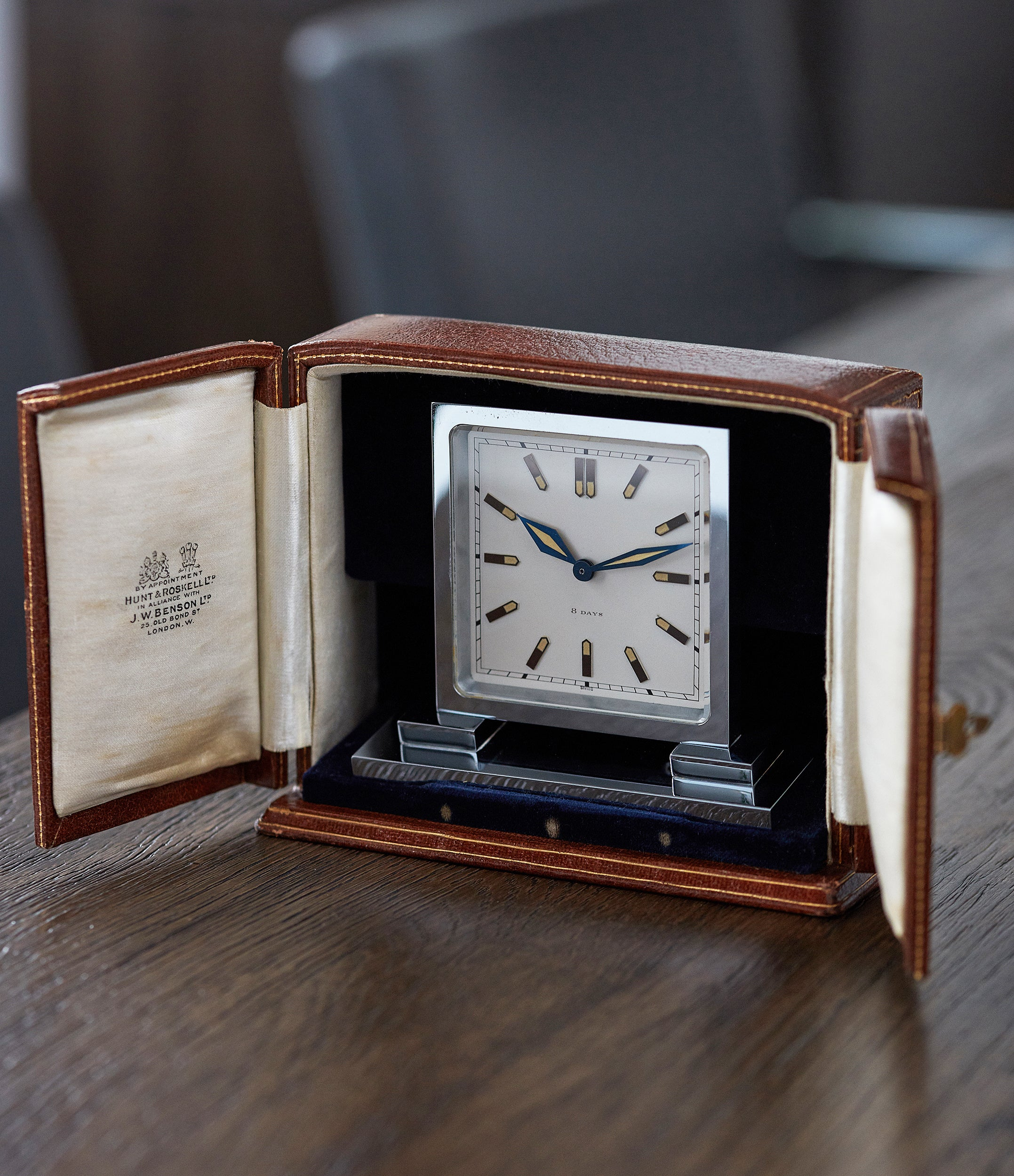 selling Hunt & Roskell Benson art deco time-only 1930s table clock  original box rare find collectable object A Collected Man