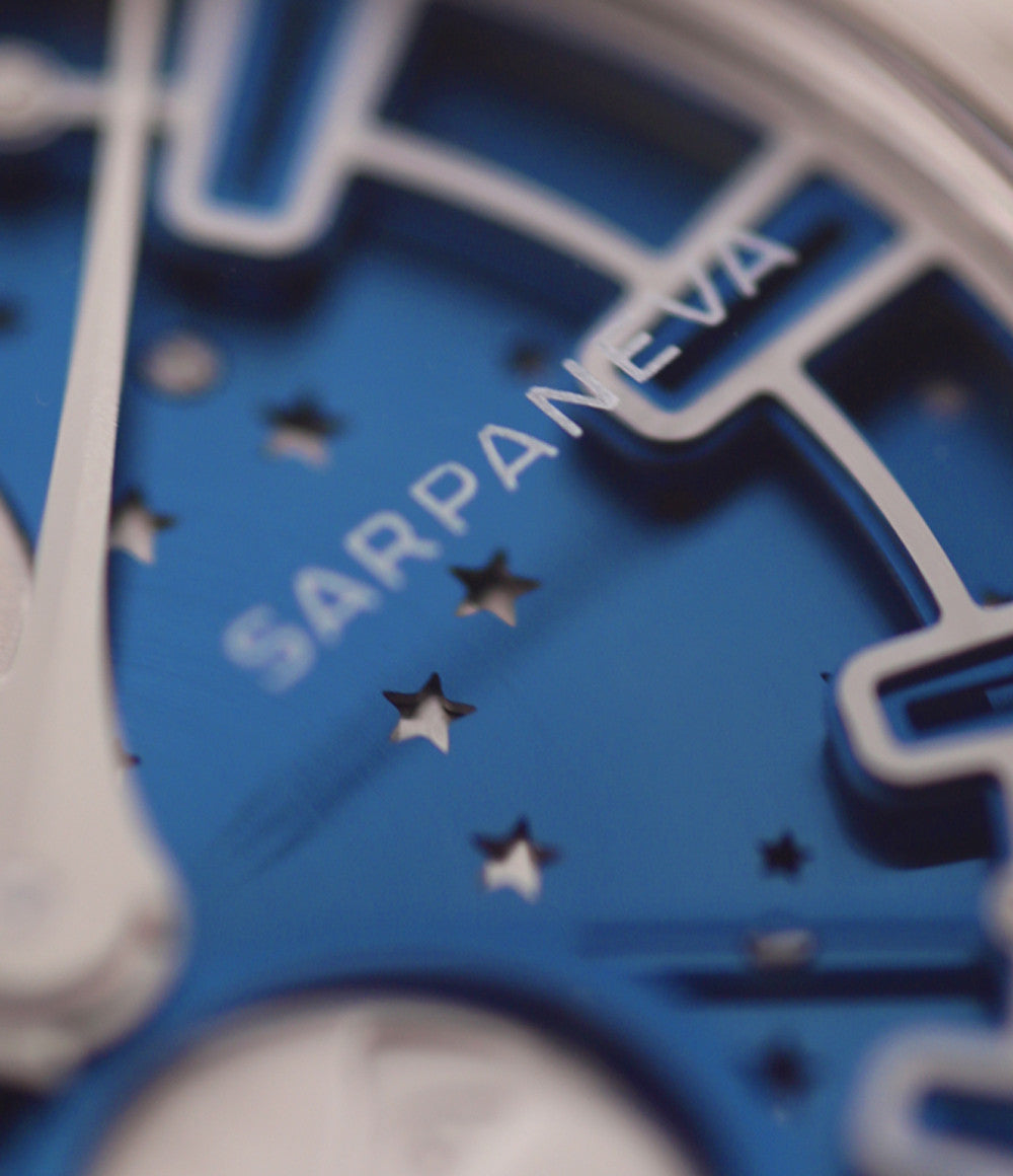 Sarpaneva Korona K3 Northern Stars  steel automatic pre-owned watch with Moon and Little Bear constellation on a blue dial with moon and stars on black strap
