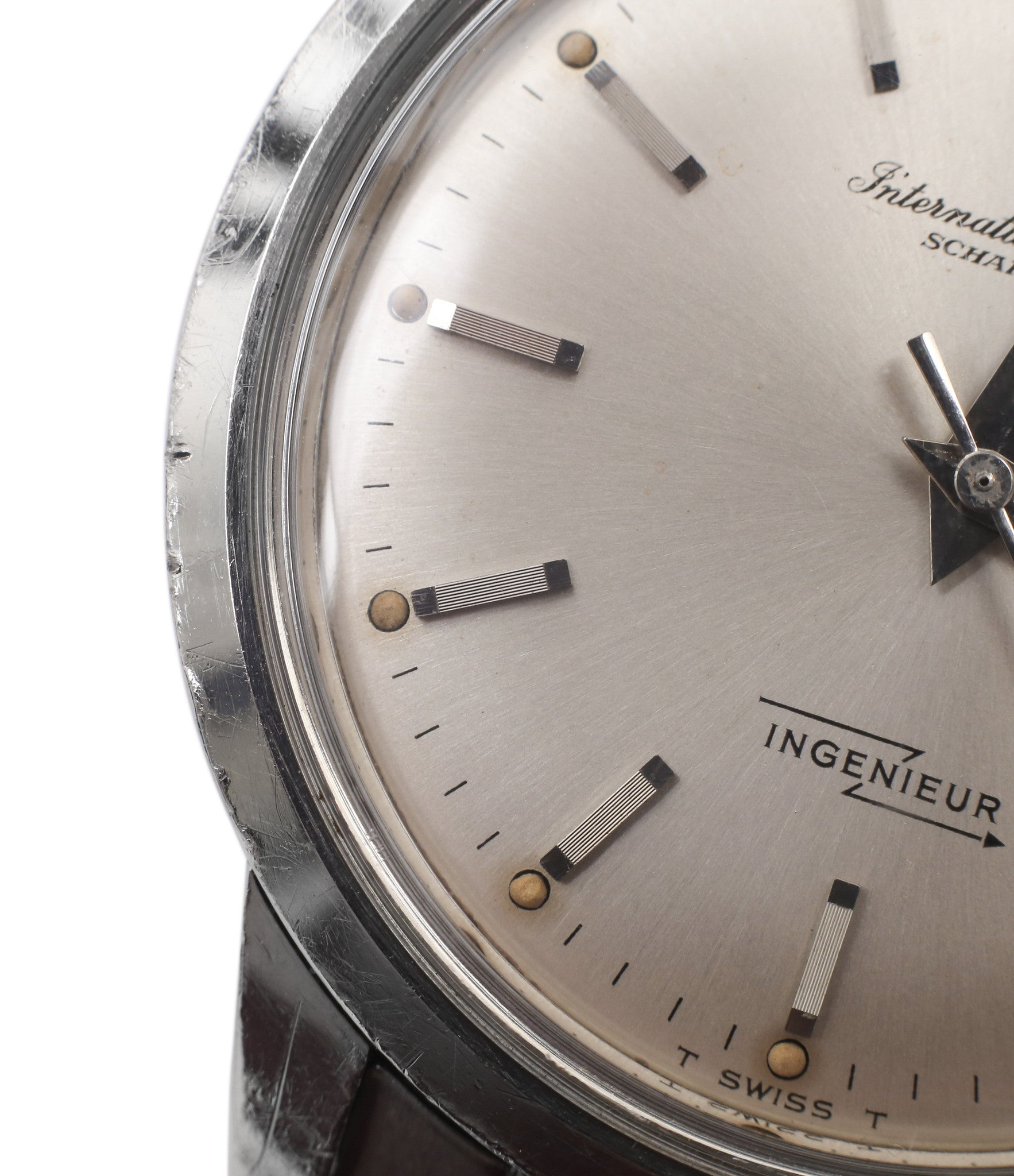 lumes vintage IWC Ingenieur 666AD steel watch unrestored dial for sale at A Collected Man