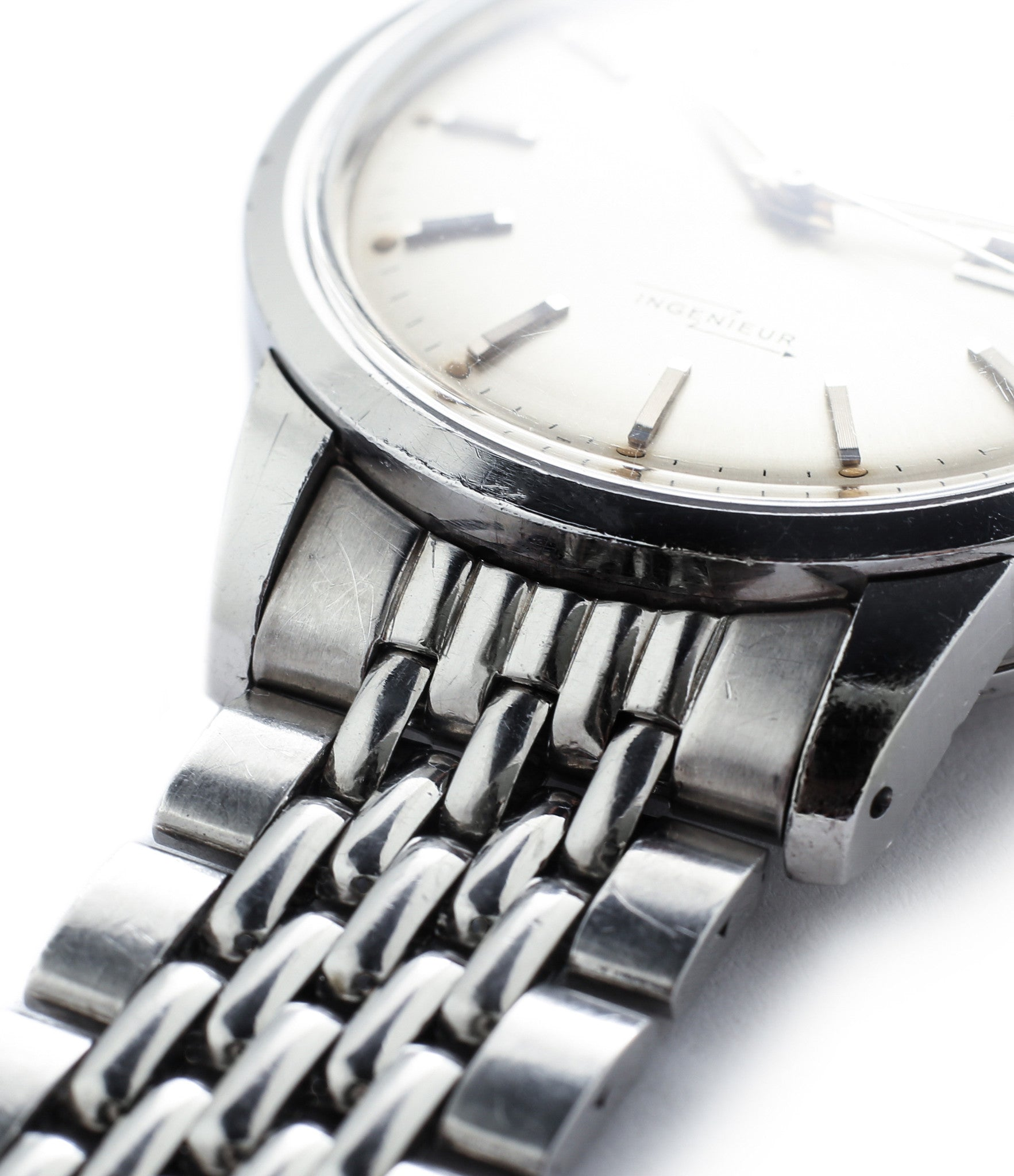 beads of rice Grey Freres steel bracelet vintage IWC Ingenieur 666AD steel watch unrestored dial for sale at A Collected Man