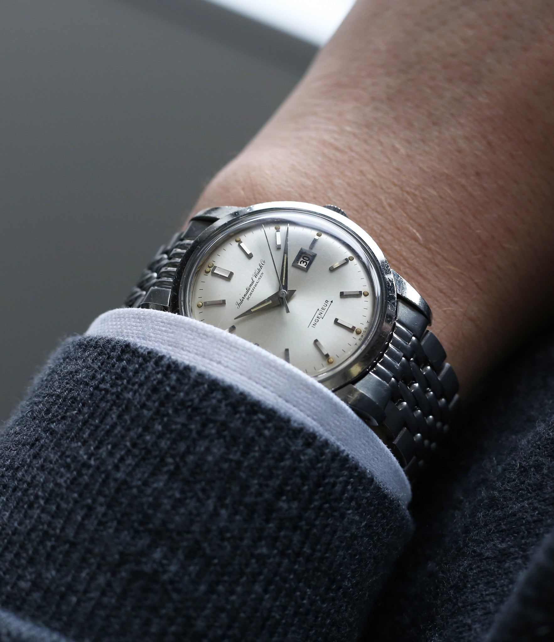 on the wrist vintage IWC Ingenieur 666AD steel watch unrestored dial for sale at A Collected Man