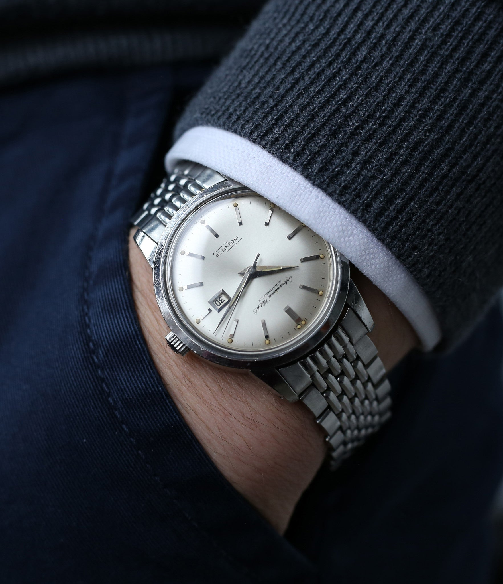 buy vintage IWC Ingenieur 666AD steel wristwatch unrestored dial for sale at A Collected Man