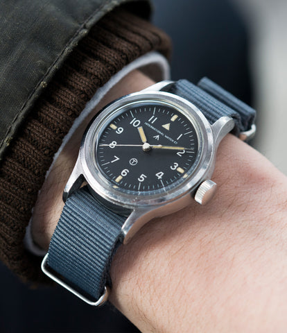 on the wrist IWC Mark XI 6B/346 steel vintage military wristwatch Cal. 89 for sale online at A Collected Man London UK specialist of rare watches