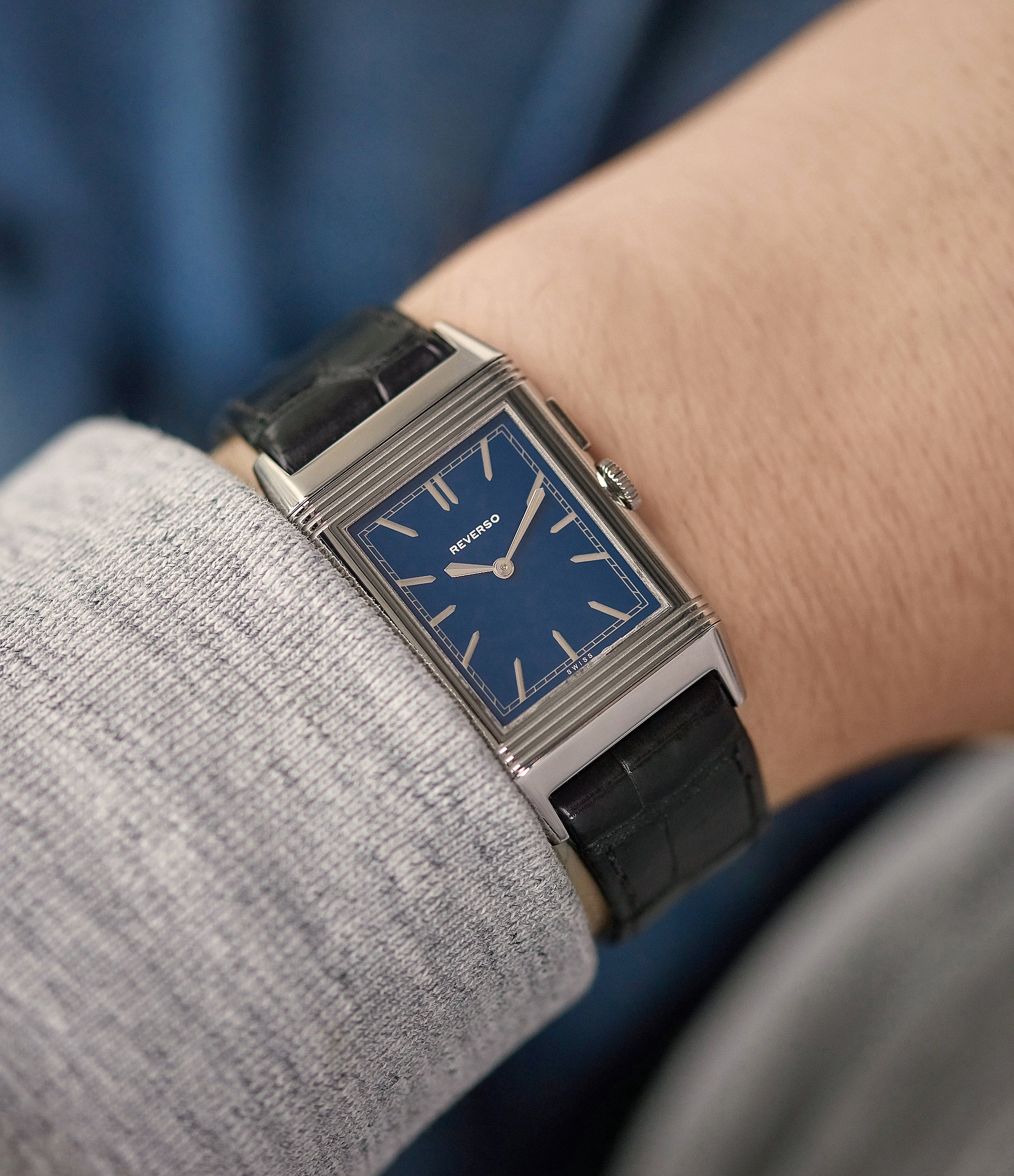 collect rare watch Jaeger-LeCoultre Boutique Edition Grand Reverso Duoface Blue Ultra-Thin 278.8.54 steel preowned traveller