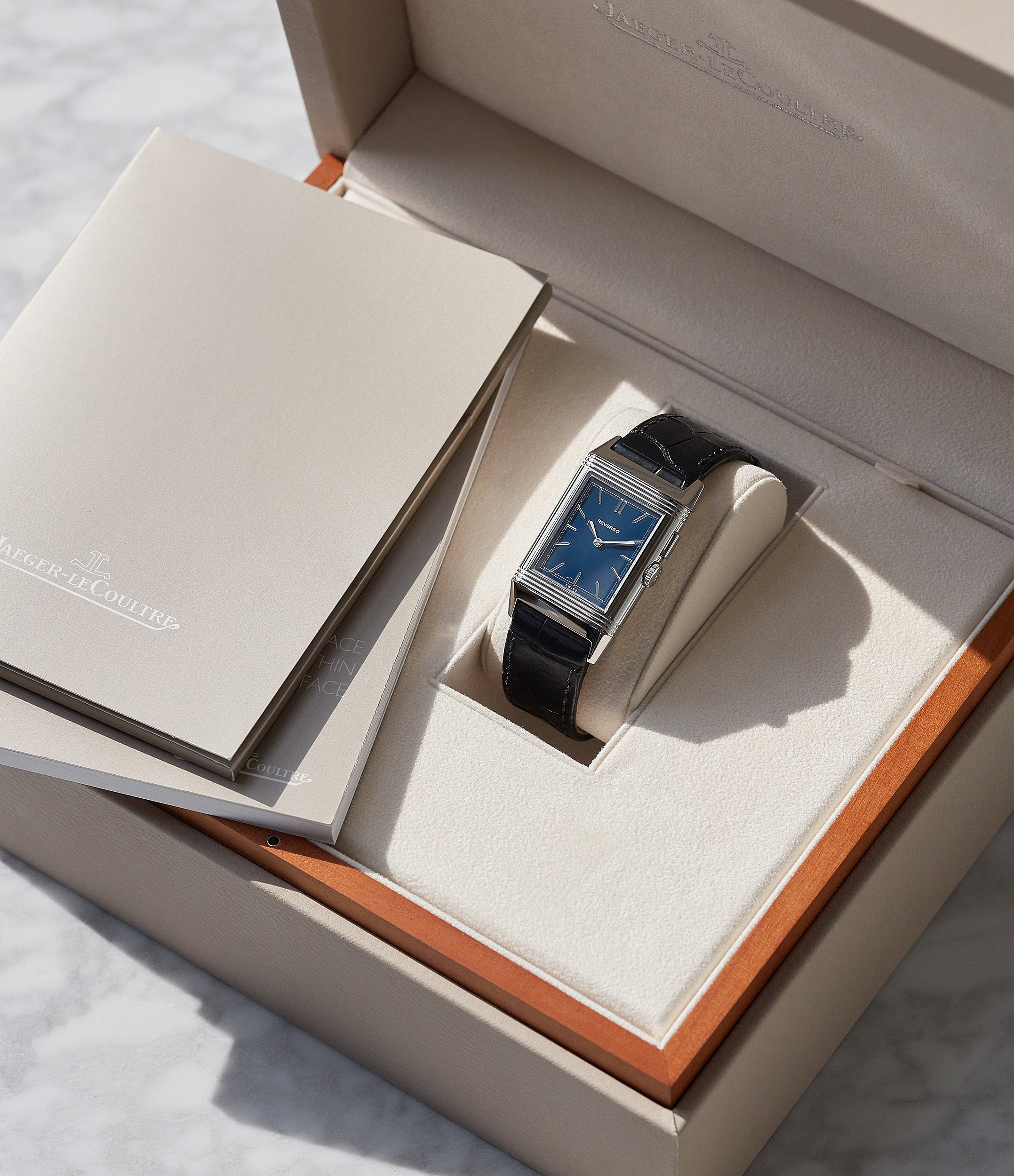 full set Jaeger-LeCoultre Grand Reverso Duoface Blue Ultra-Thin Boutique Edition 278.8.54 steel preowned traveller
