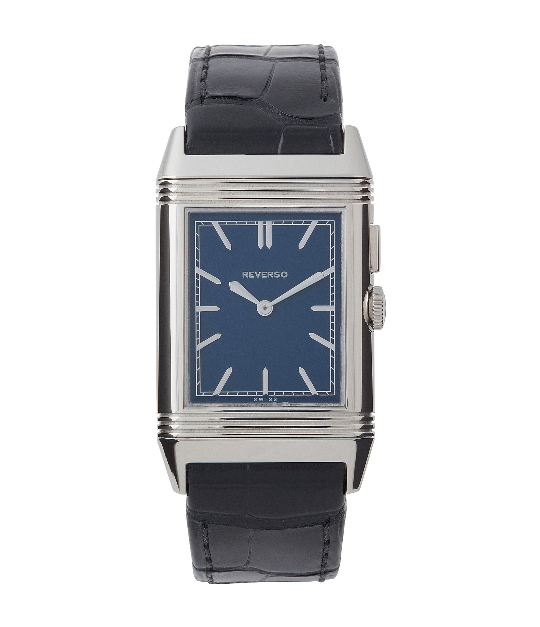 shop Jaeger-LeCoultre Boutique Edition Grand Reverso Duoface Blue Ultra-Thin 278.8.54 steel preowned traveller