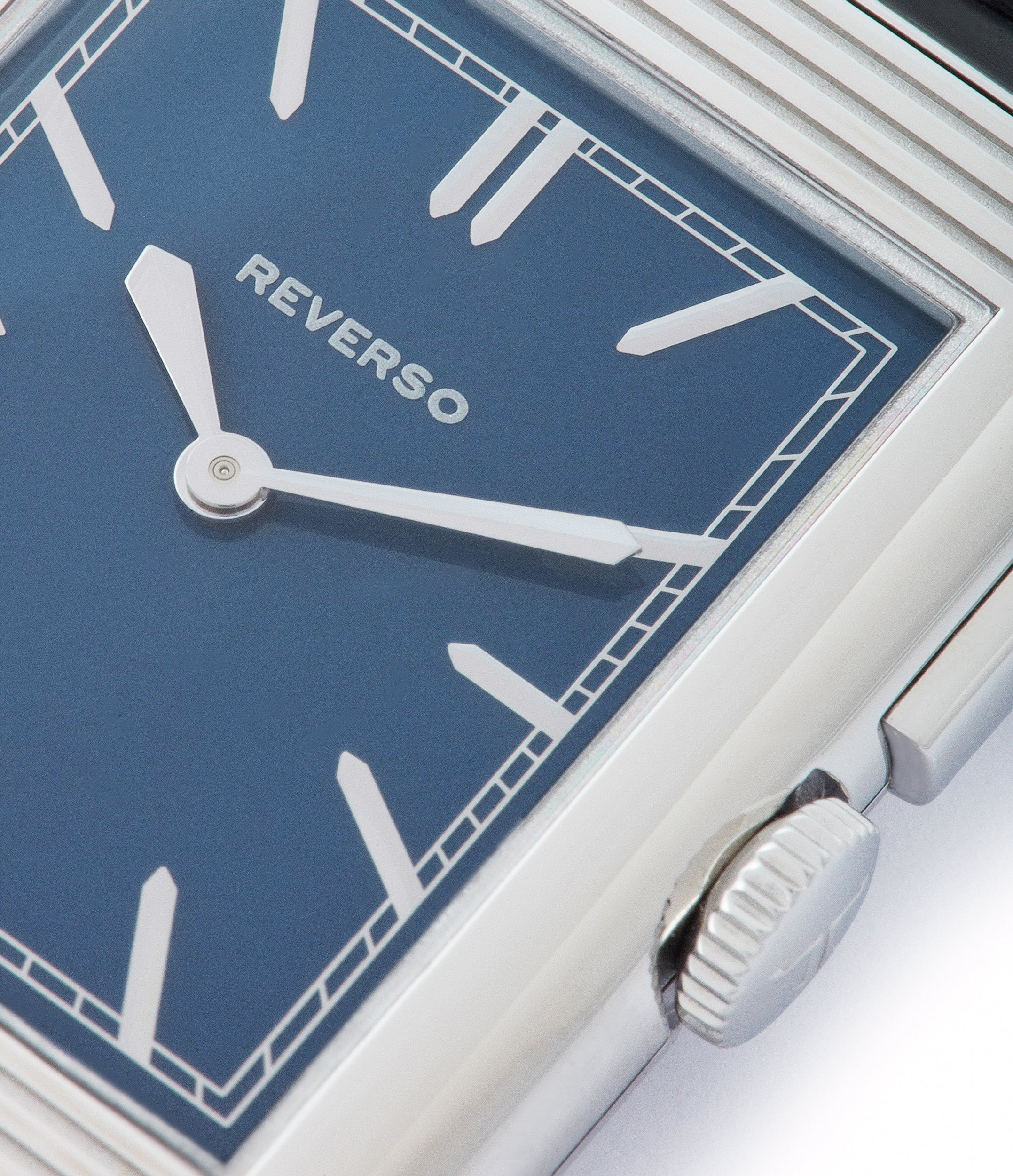 blue lacquer dial based on 1933 original Reverso by Jaeger-LeCoultre Boutique Edition steel preowned traveller wristwatch for sale at A Collected Man London