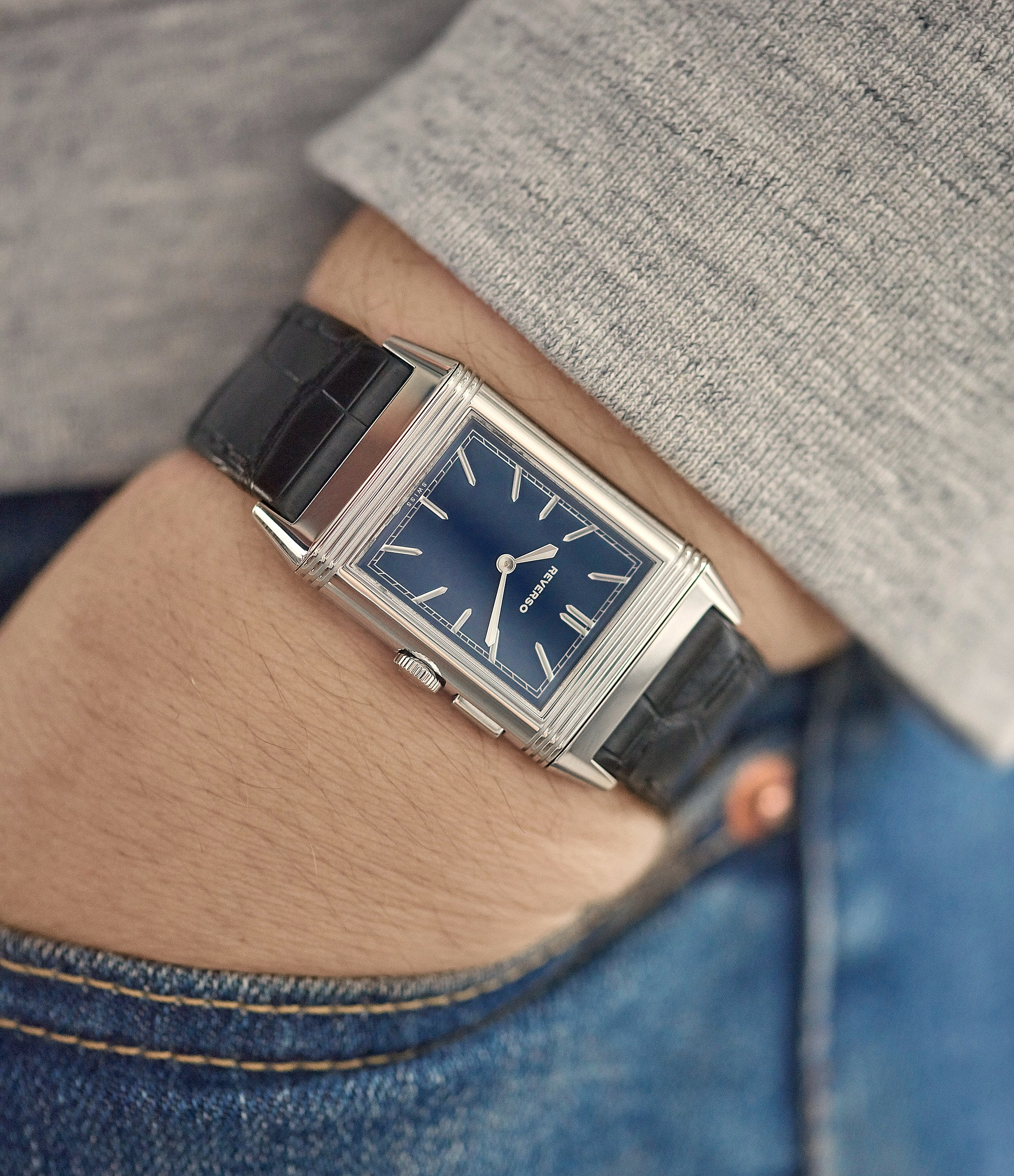 men's classic dress watch Duoface Blue Jaeger-LeCoultre Grand Reverso Ultra-Thin Boutique Edition 278.8.54 steel preowned traveller