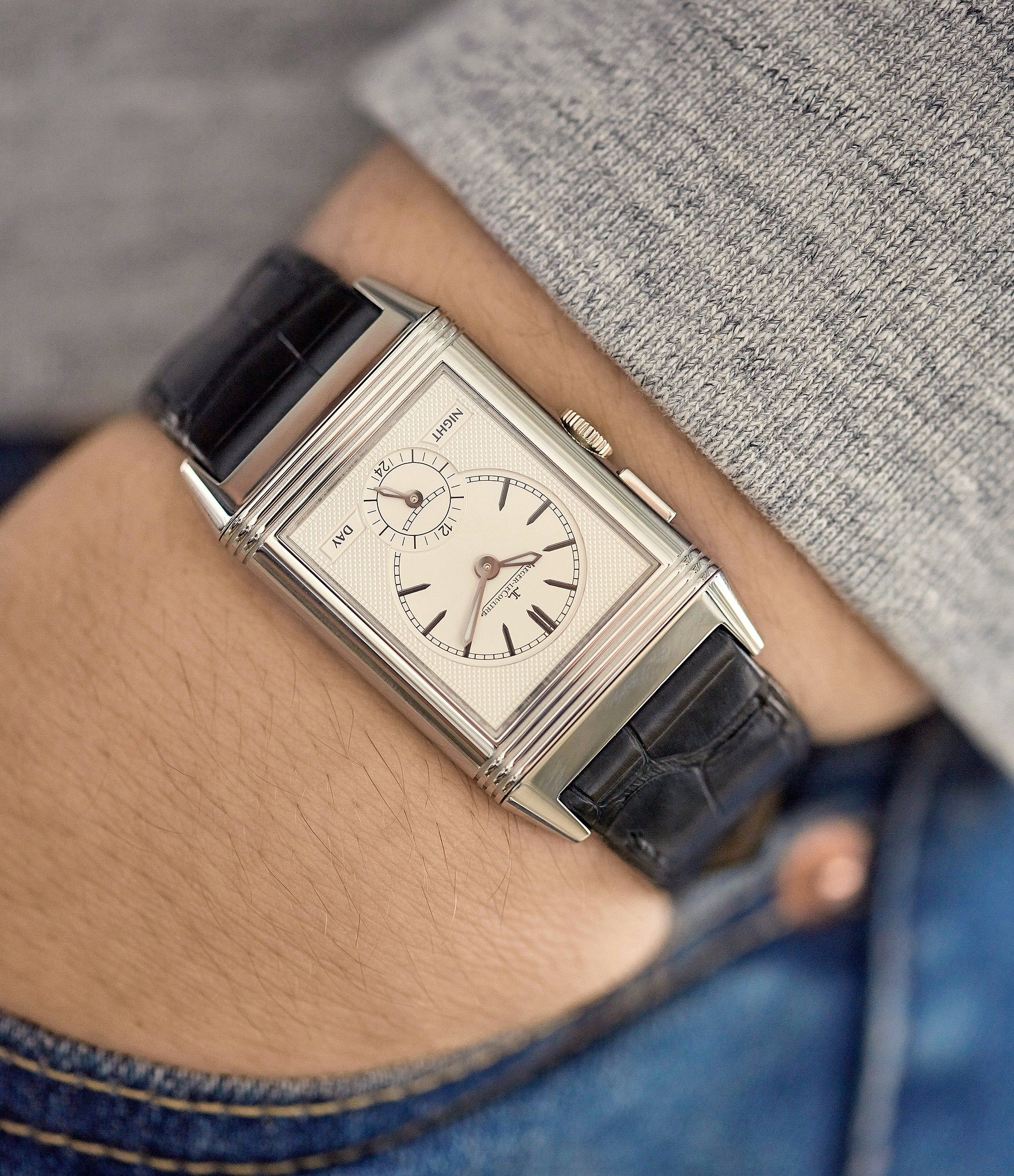 two-dial Jaeger-LeCoultre Boutique Edition Grand Reverso Duoface Blue Ultra-Thin 278.8.54 steel preowned traveller