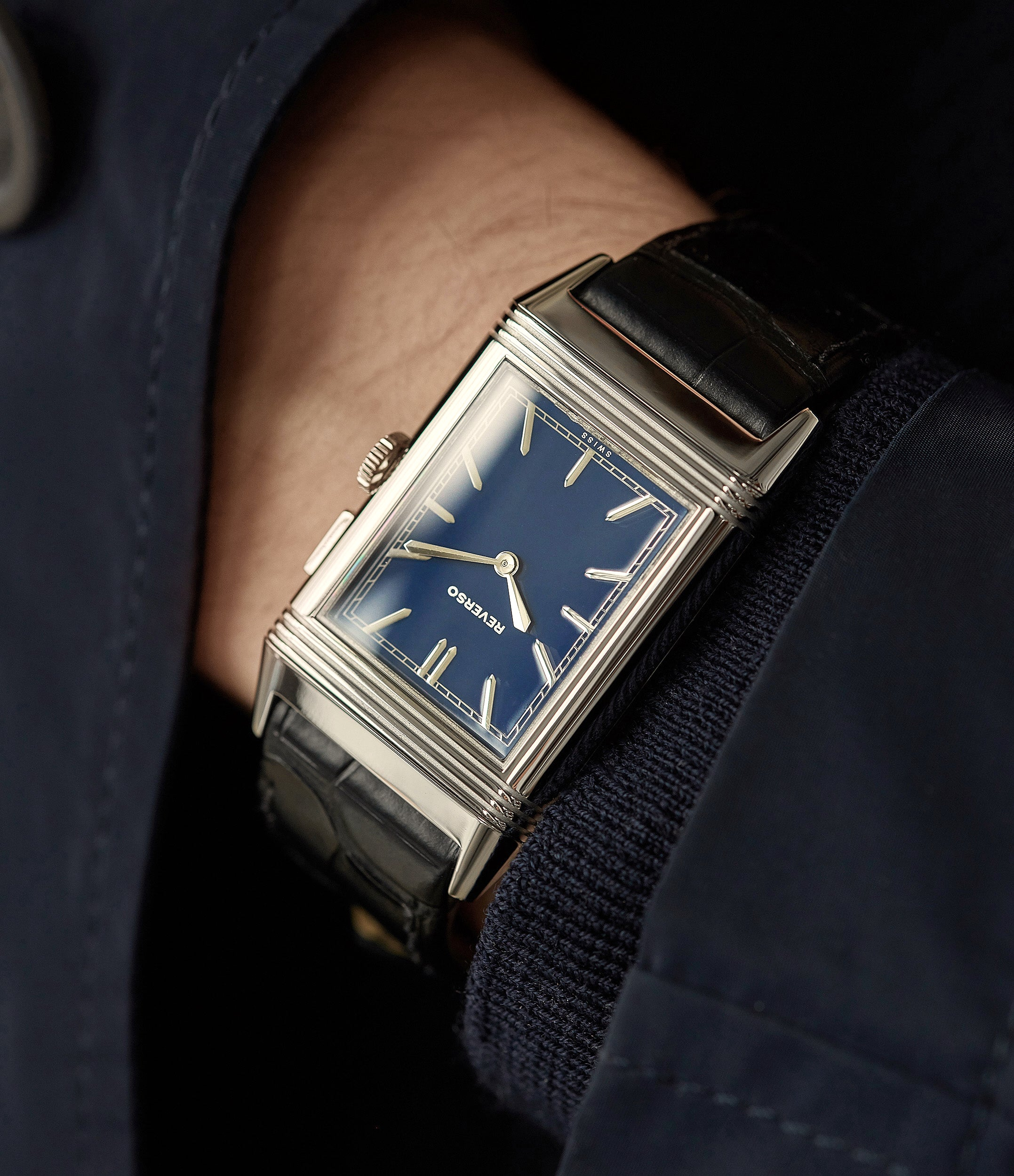 gent's dress watch Jaeger-LeCoultre Grand Reverso Duoface Blue Ultra-Thin Boutique Edition 278.8.54 steel preowned traveller