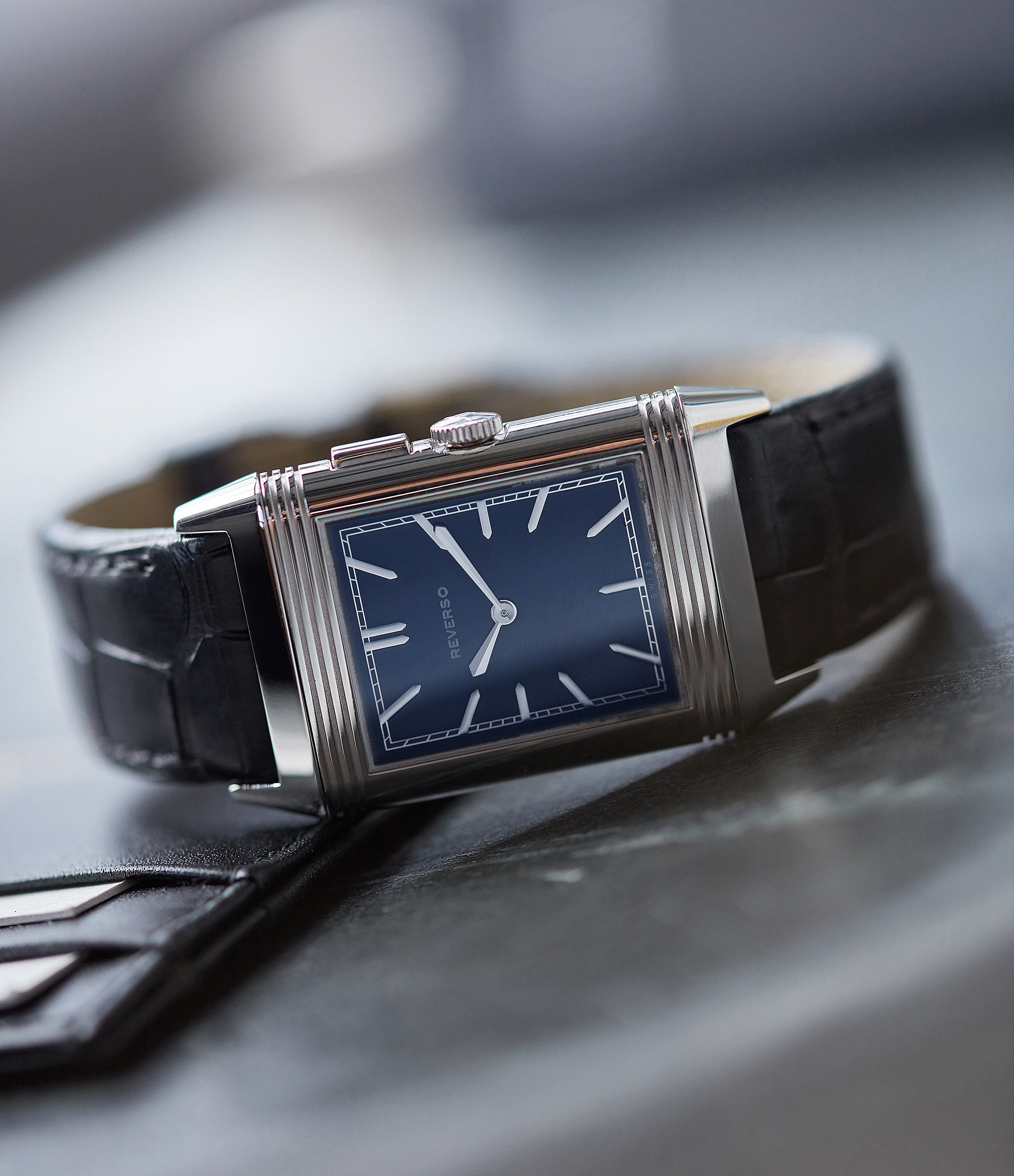 blue dial Jaeger-LeCoultre Grand Reverso Duoface Blue Ultra-Thin Boutique Edition 278.8.54 steel preowned traveller