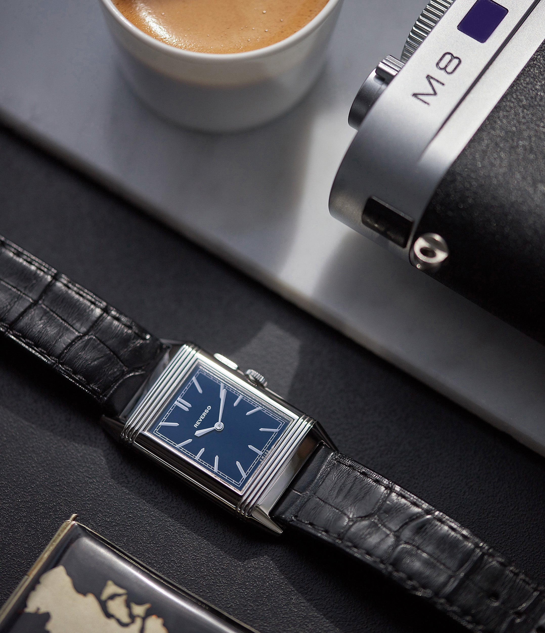 Duoface Blue Jaeger-LeCoultre Grand Reverso Ultra-Thin Boutique Edition 278.8.54 steel preowned traveller dress watch
