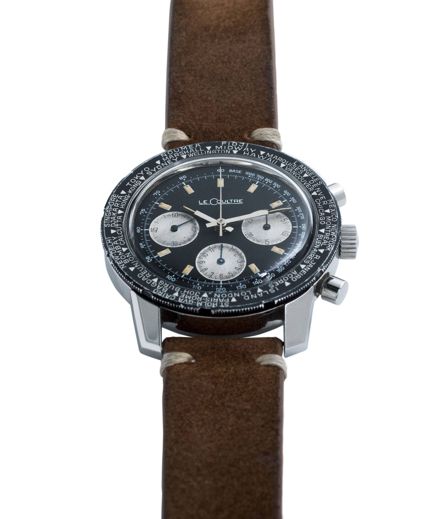 steel chronograph LeCoultre Deep Sea Shark Diving E2643 vintage online at A Collected Man London vintage watch specialist