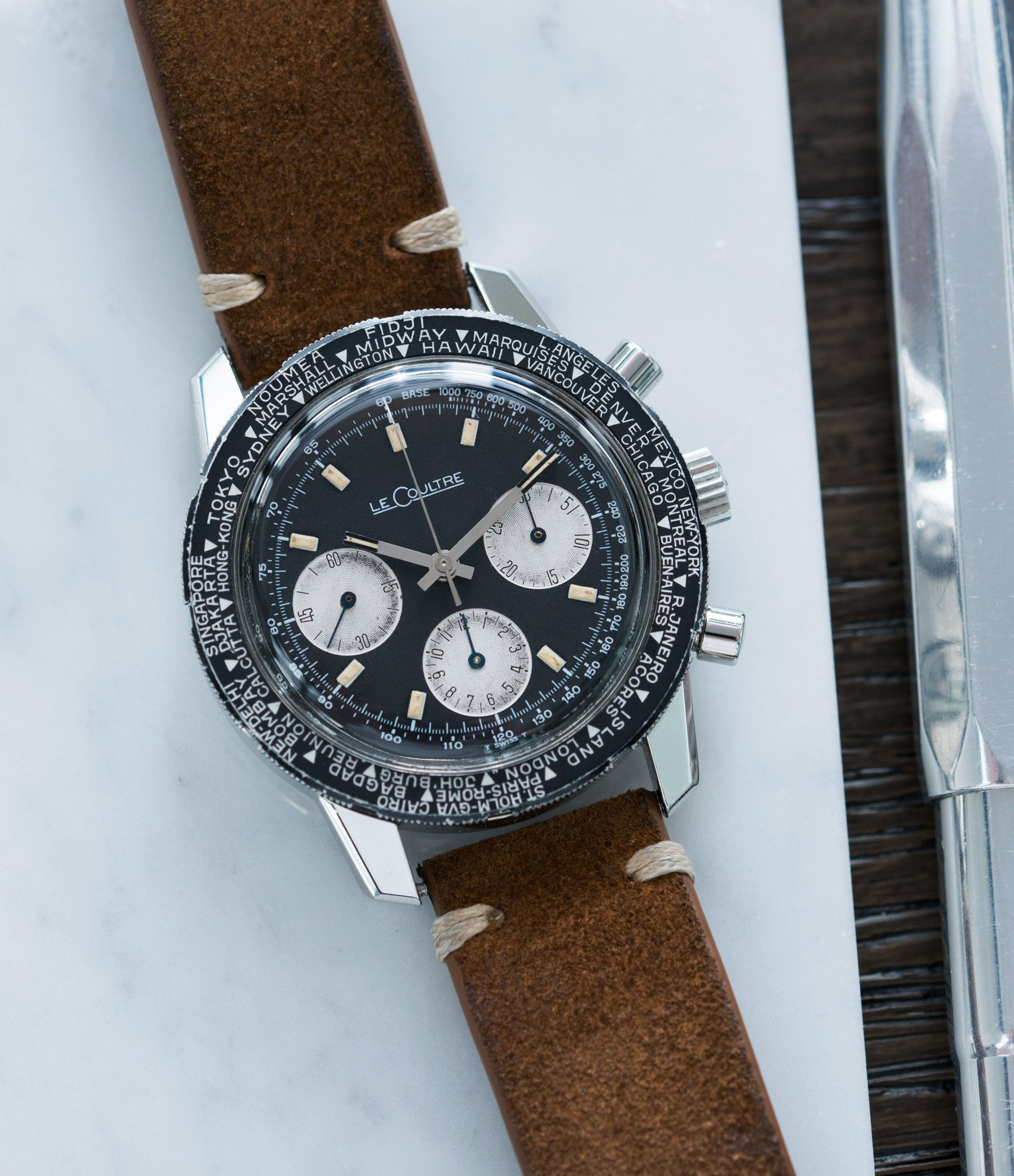 collect vintage watches LeCoultre Deep Sea Shark E2643 steel chronograph online at A Collected Man London vintage watch specialist