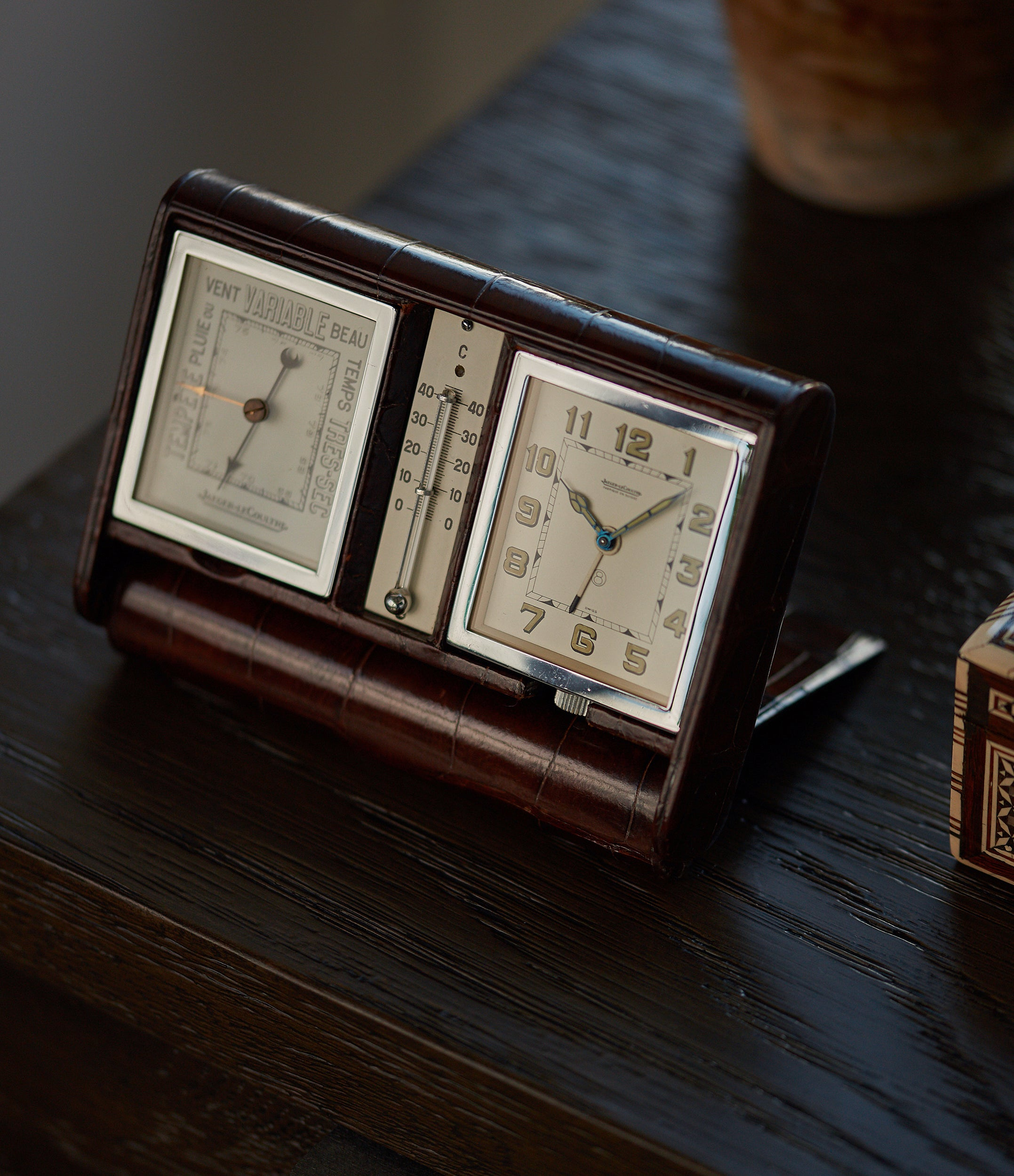rare collectable Jaeger-LeCoultre weather station travel alarm desktop vintage clock for sale online A Collected Man London
