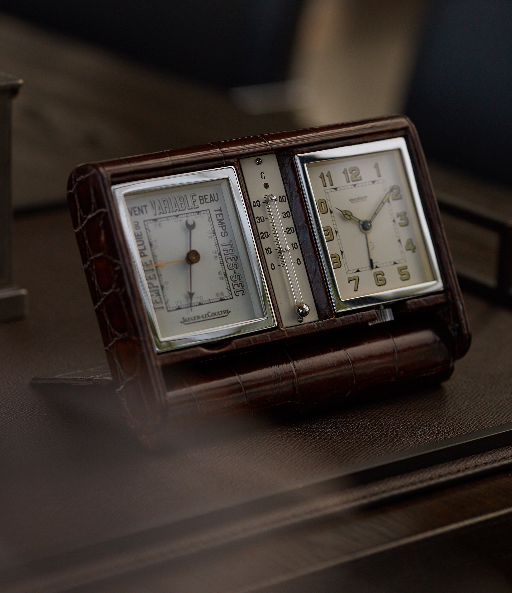 shop rare Jaeger-LeCoultre weather station travel alarm desktop vintage clock for sale online A Collected Man London