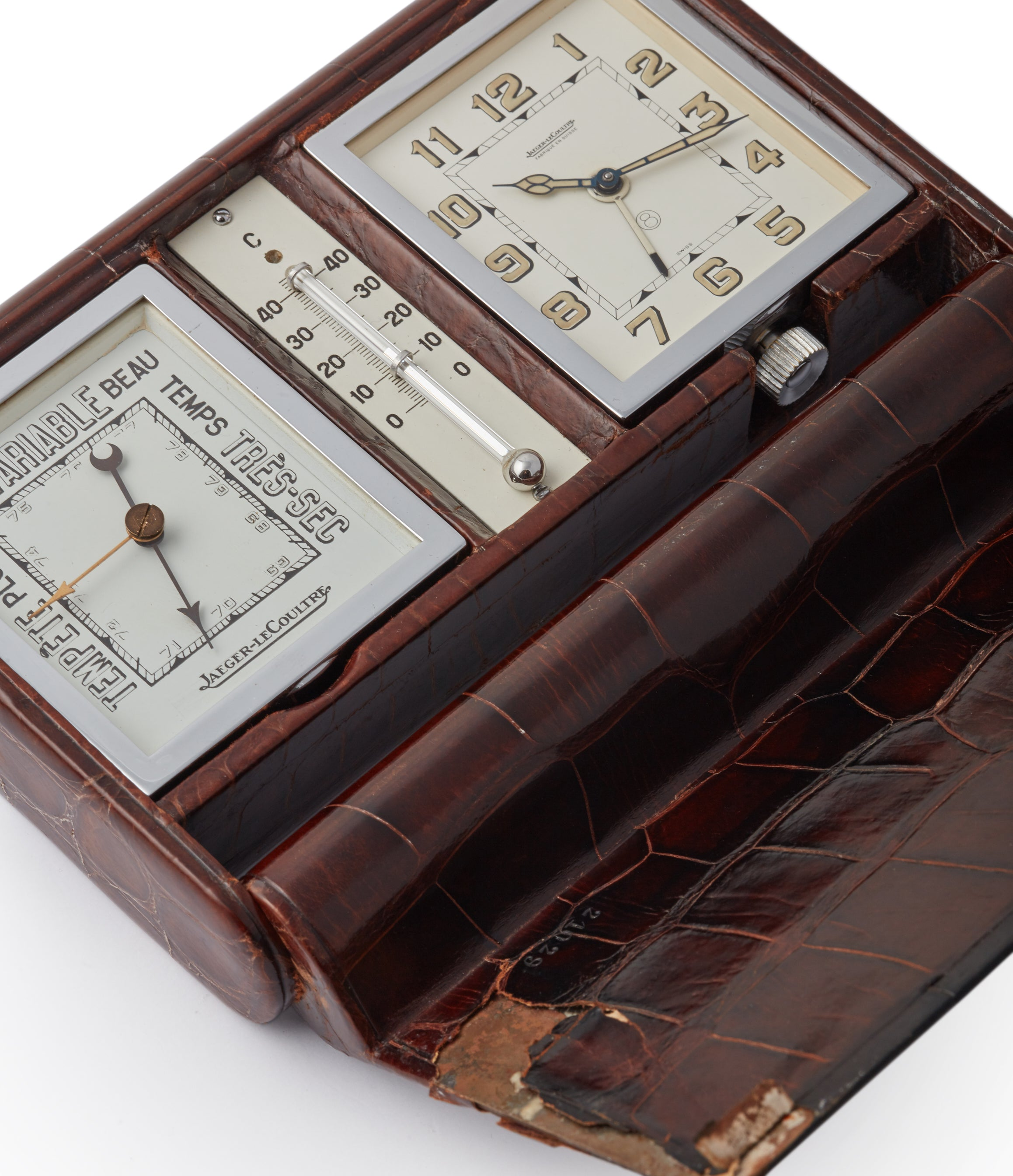 Jaeger-LeCoultre barometer thermometer weather station travel alarm desktop vintage clock for sale online A Collected Man London