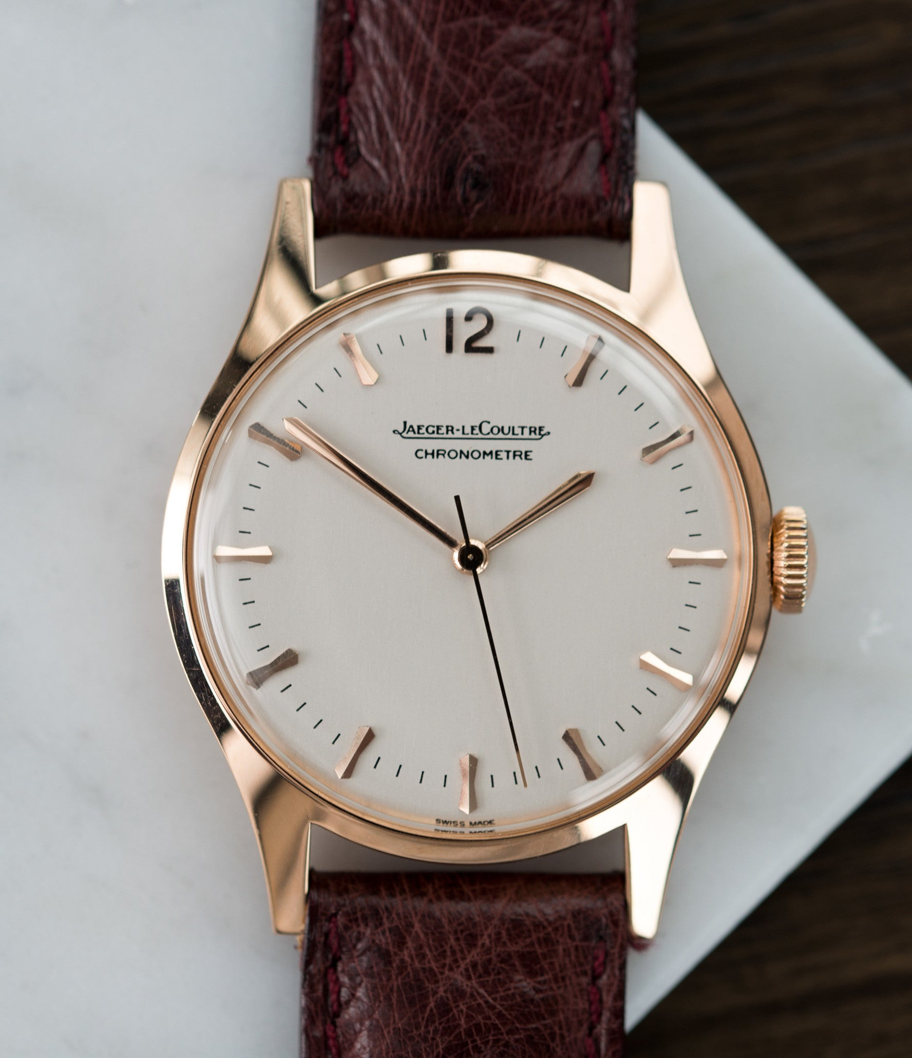 time-only dress watch buy Jaeger-LeCoultre Geophysic Luxe 2985 rose gold rare vintage watch online for sale at A Collected Man London