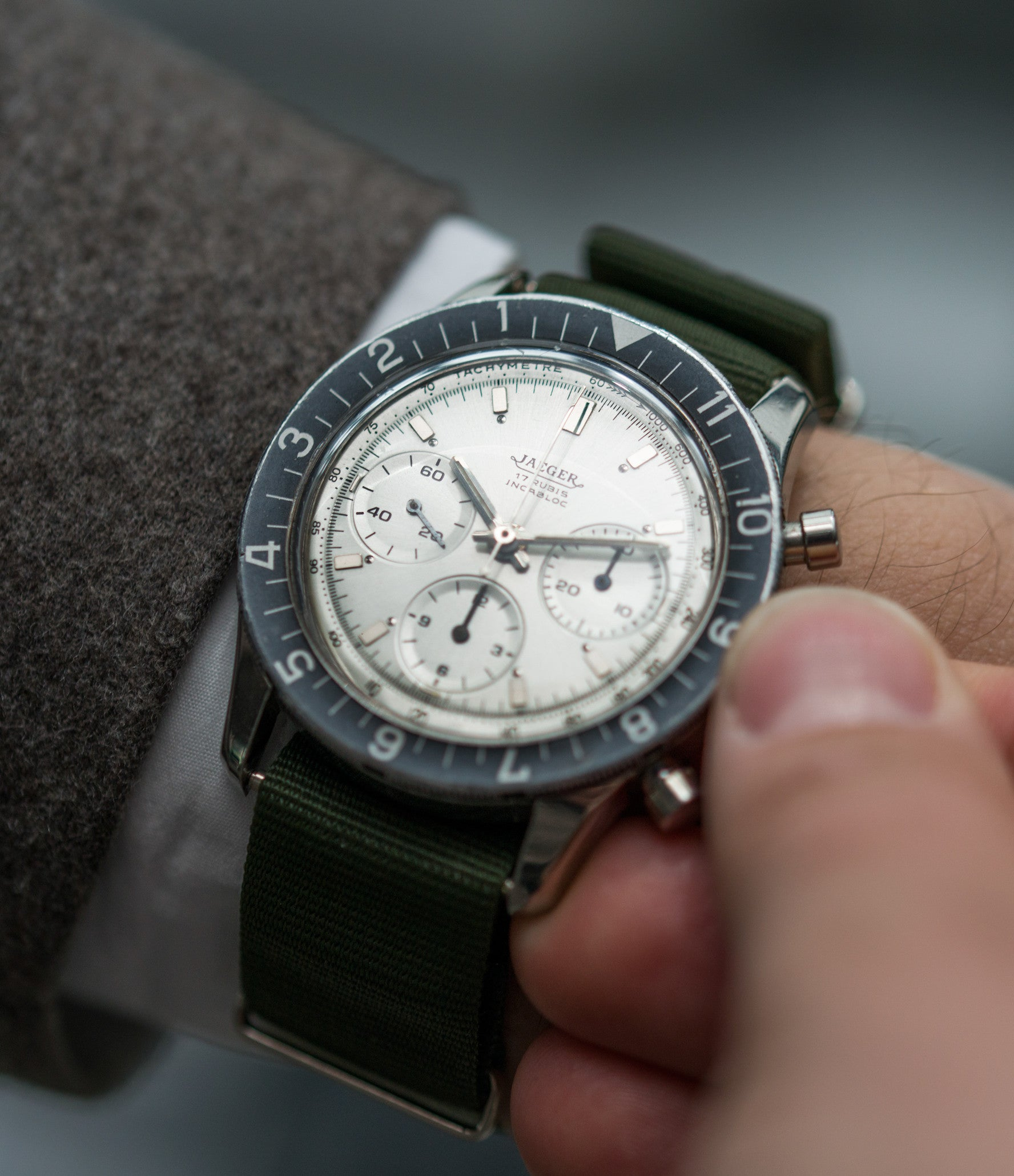 on the wrist Jaeger-LeCoultre 4ATM E. 13001 steel vintage chronograph watch online at A Collected Man London seller rare vintage watches