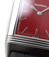 stepped case Jaeger-LeCoultre Reverso 1931 Rouge red lacquer dial dress watch online at a Collected Man London