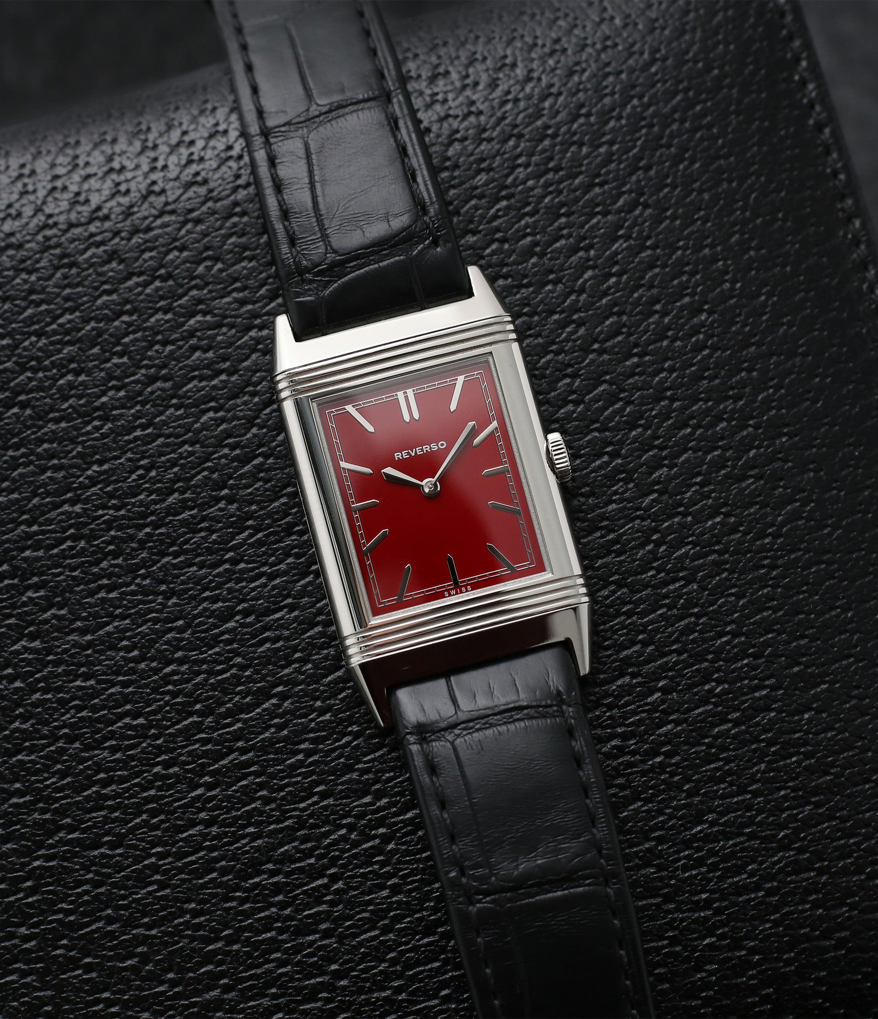 gentleman's luxury Jaeger-LeCoultre Reverso 1931 Rouge red lacquer dial dress watch online at a Collected Man London for sale