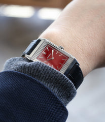 on the wrist Jaeger-LeCoultre Reverso 1931 Rouge red lacquer dial dress watch online at a Collected Man London