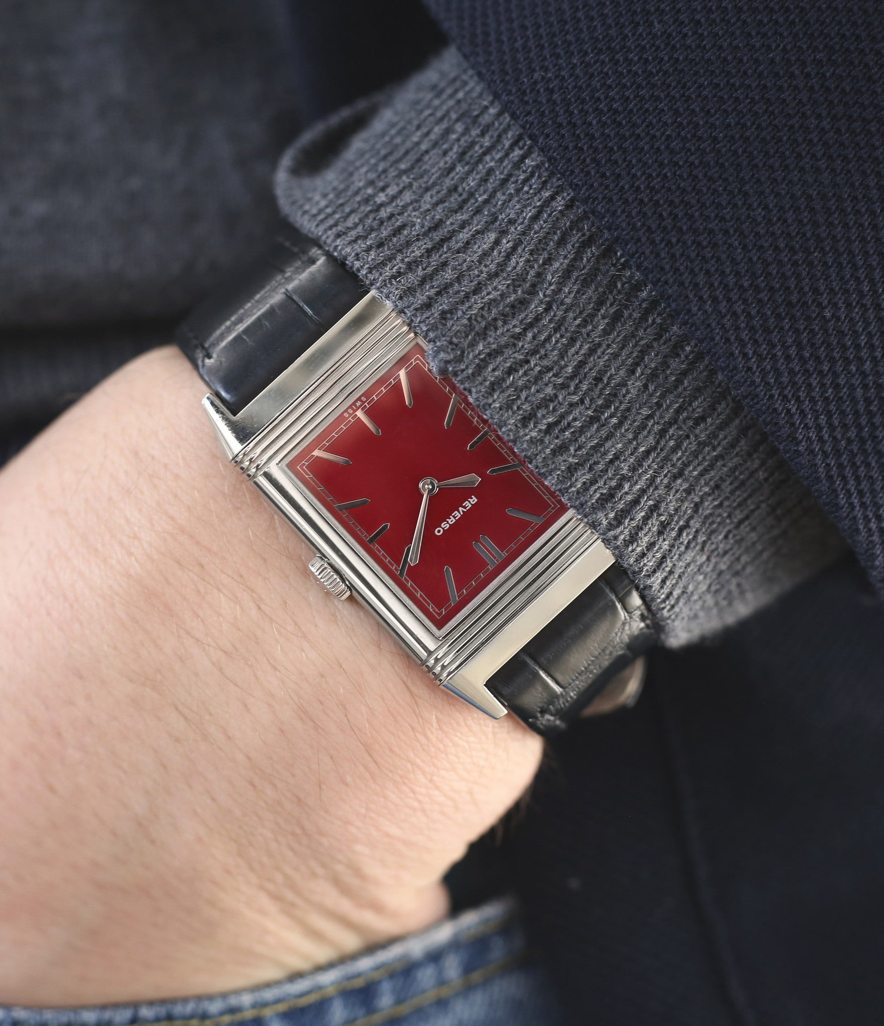 buy rare time-only red dial Jaeger-LeCoultre Reverso 1931 Rouge red lacquer dial dress watch online at a Collected Man London