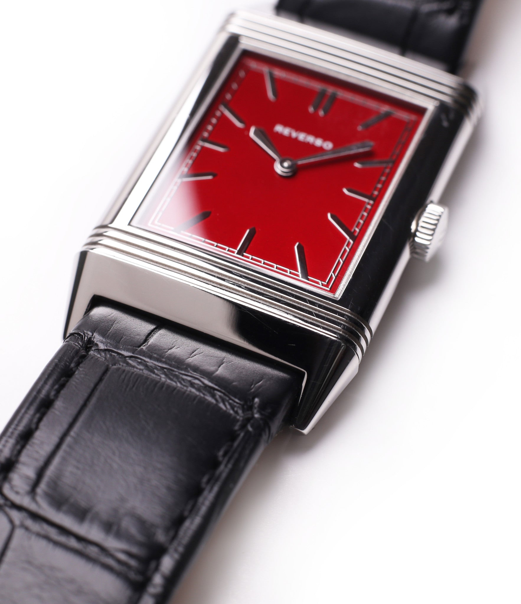 red dial JLC Reverso 1931 Rouge red lacquer dial dress watch online at a Collected Man London