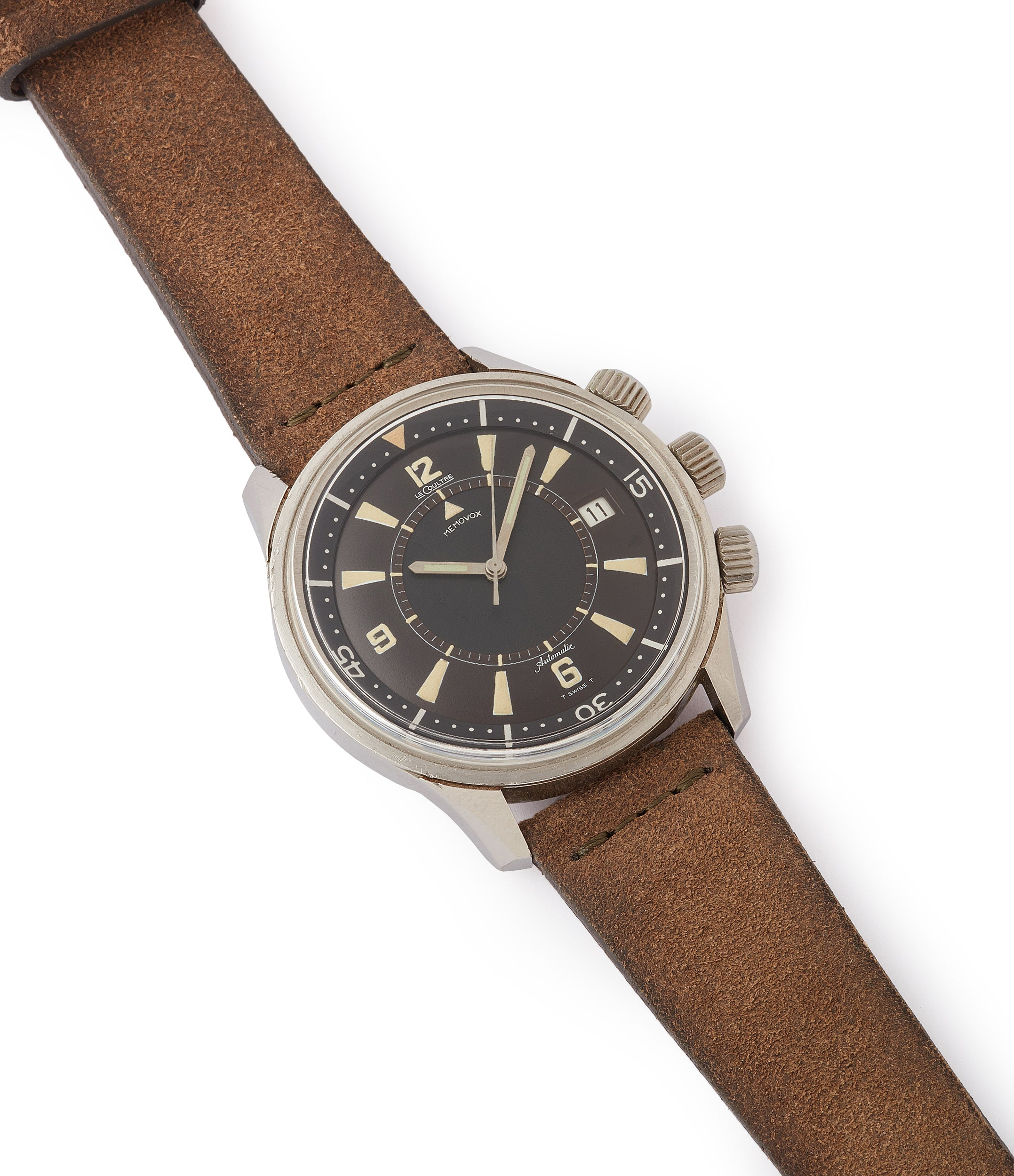 selling vintage Jaeger-LeCoultre Memovox Polaris E859 Cal. K825 alarm diving watch for sale at A Collected Man London UK specialist of rare watches