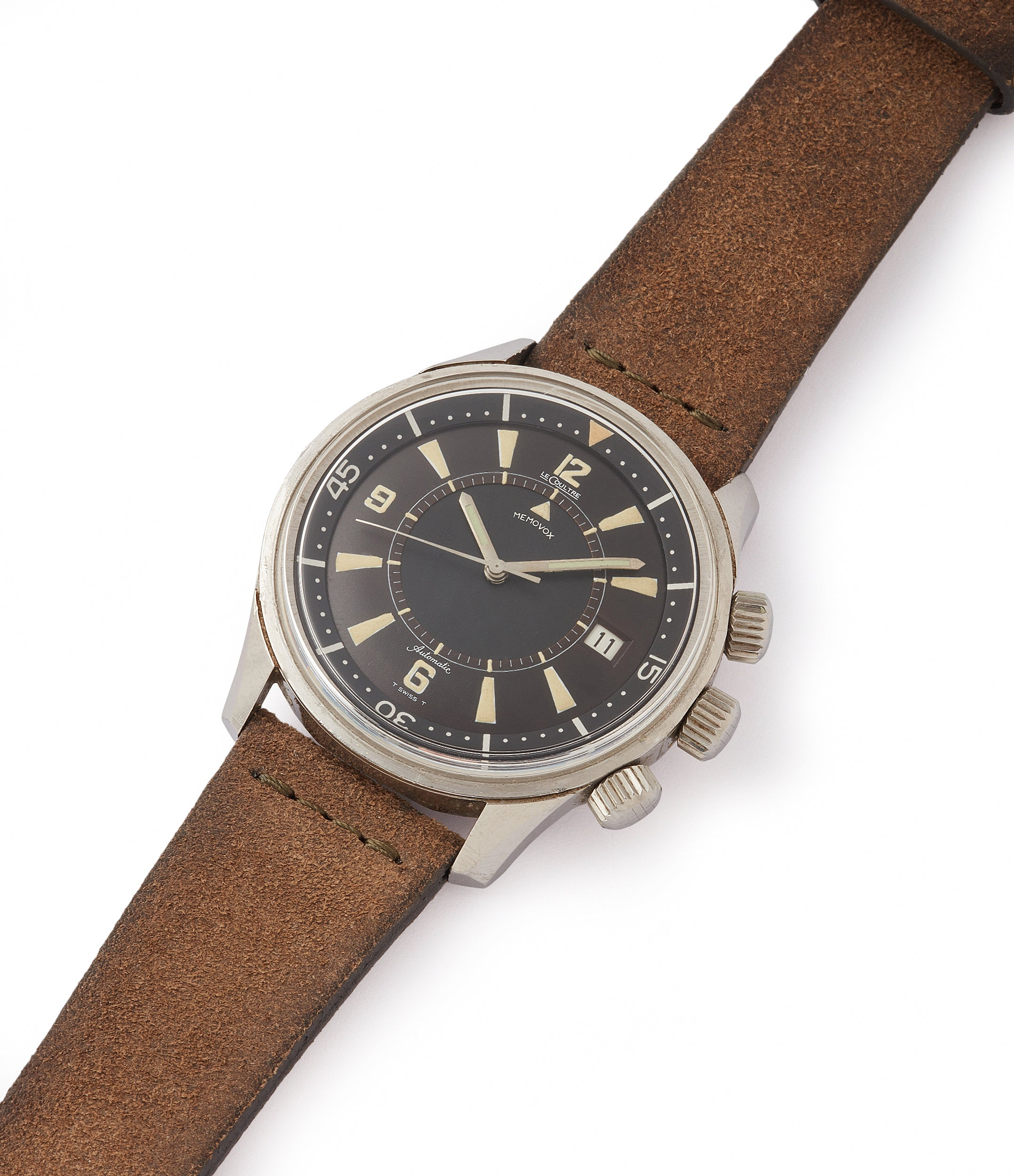 shop vintage Jaeger-LeCoultre Memovox Polaris E859 Cal. K825 alarm diving watch for sale at A Collected Man London UK specialist of rare watches
