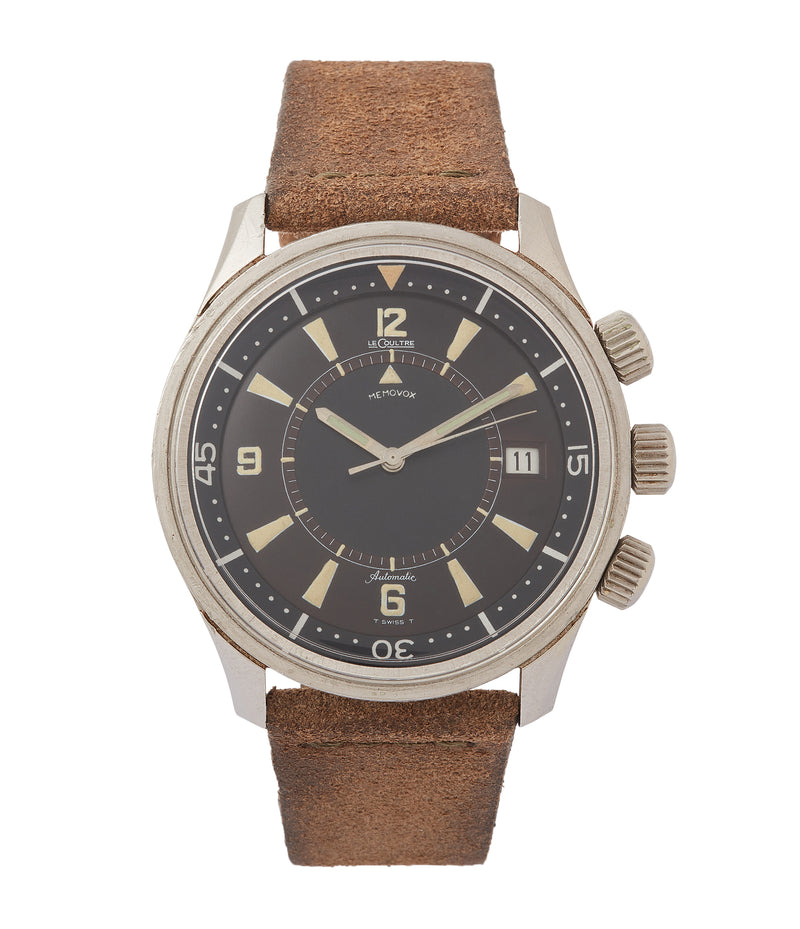 buy vintage Jaeger-LeCoultre Memovox Polaris E859 Cal. K825 alarm diving watch for sale at A Collected Man London UK specialist of rare watches
