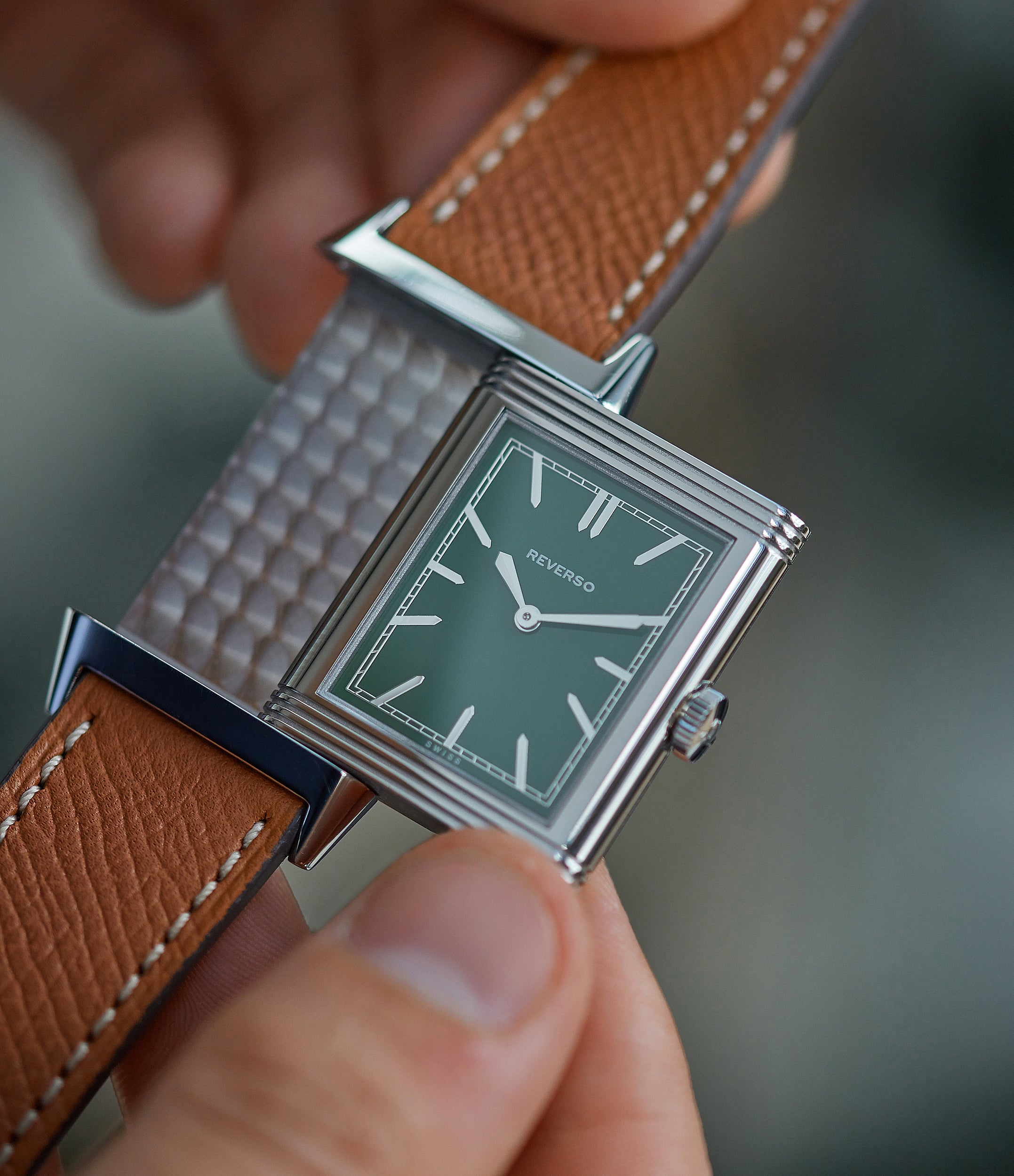purchase men's watch pre-owned Jaeger-LeCoultre Grand Reverso 1931 Green London Flagship Edition engraved