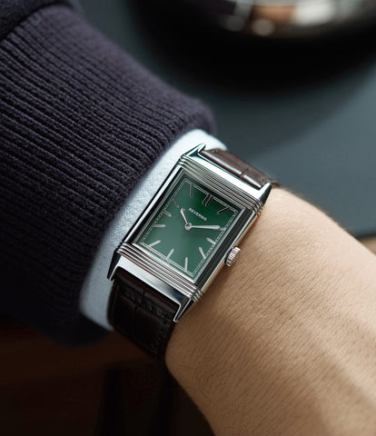 Jaeger-LeCoultre Grand Reverso 1931 London Limited Edition 278 85 3L green dial pre-owned steel luxury watch for sale online at A Collected Man London UK specialist of rare watches