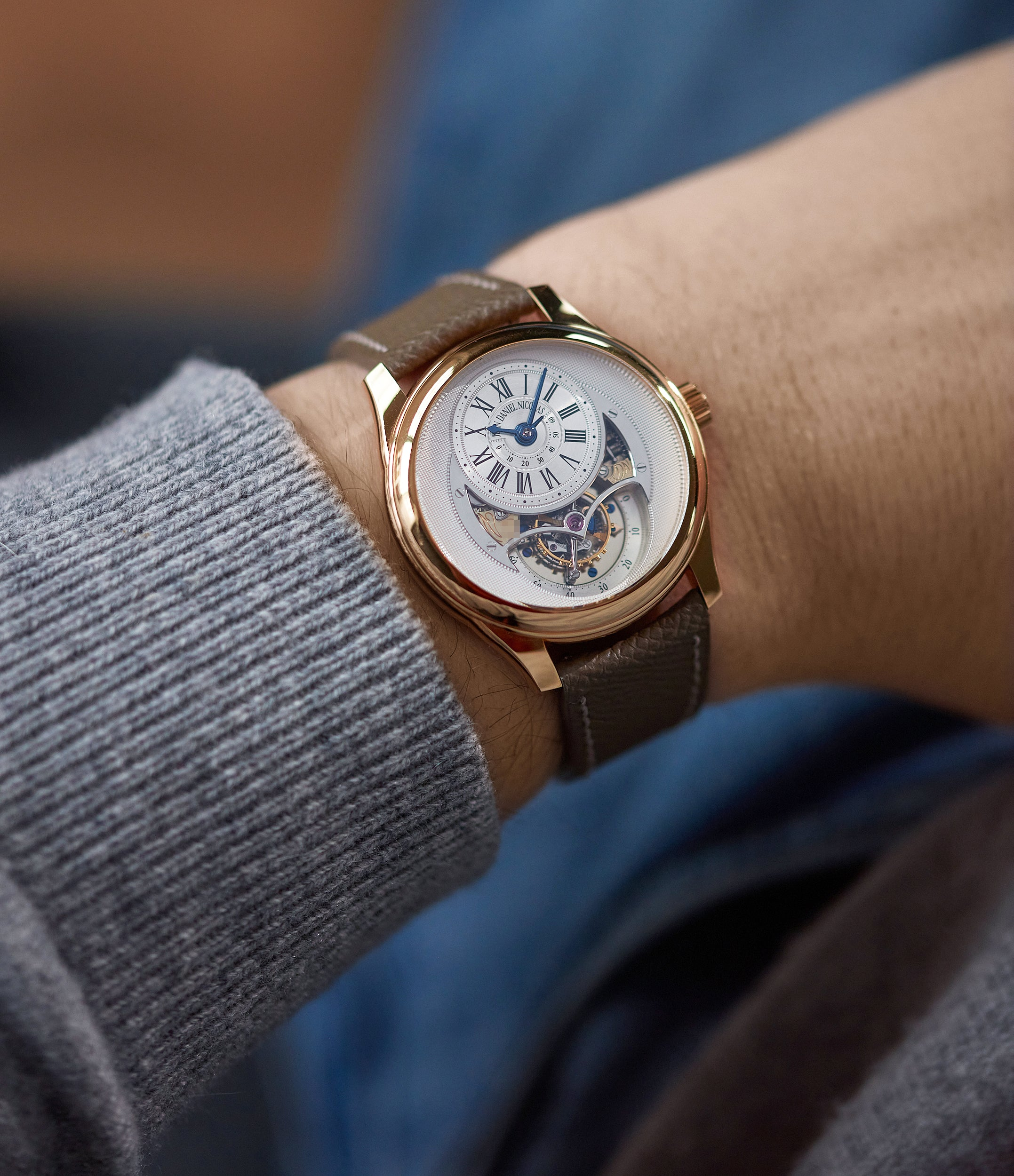 men's luxury wristwatch Jean Daniel Nicolas Two-Minute Tourbillon by independent watchmaker Daniel Roth rose gold pre-owned rare watch for sale online A Collected Man London specialist of rare watches