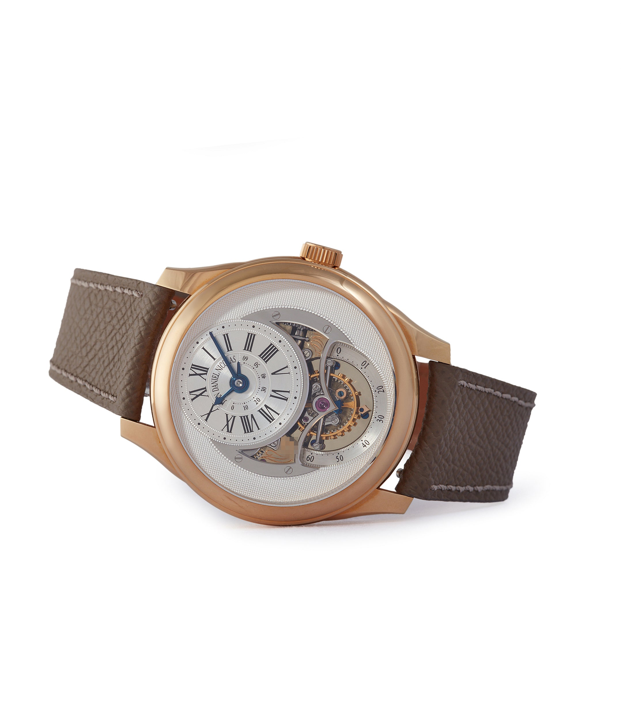 side-shot Jean Daniel Nicolas Two-Minute Tourbillon by independent watchmaker Daniel Roth rose gold pre-owned rare watch for sale online A Collected Man London specialist of rare watches