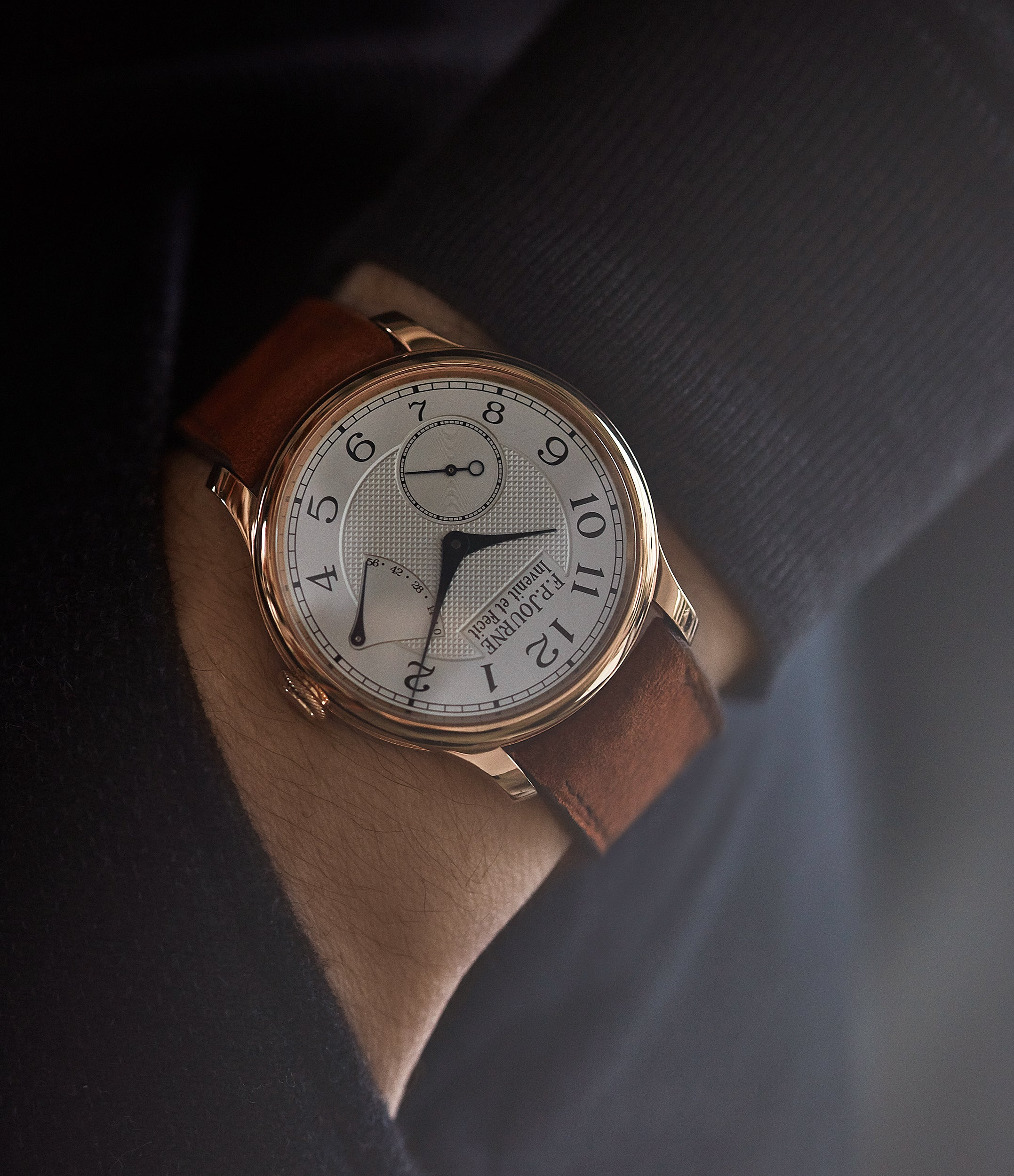 hands on with F. P. Journe Chronometre Souverain CS.RG.38 rose gold silver dial watch for sale online at A Collected Man London UK specialist of rare watches