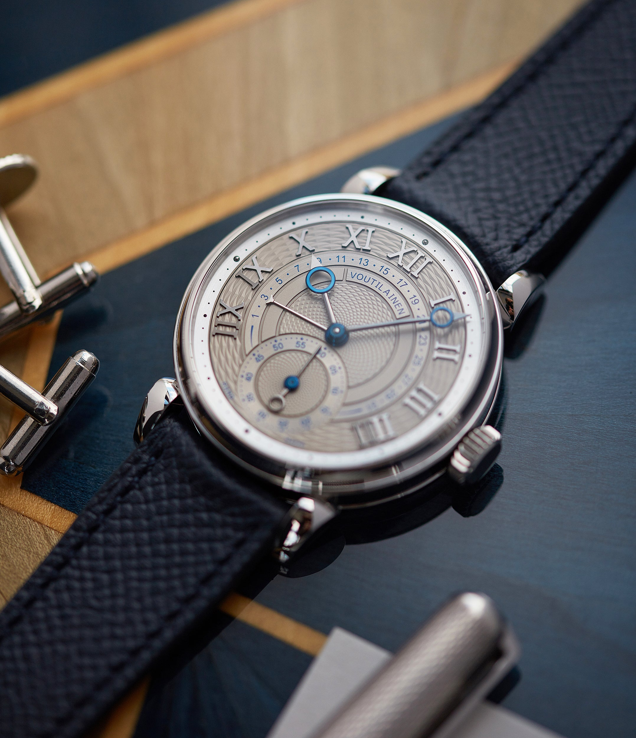 selling blue grained leather watch strap La Rochelle Molequin for sale order online at A Collected Man London