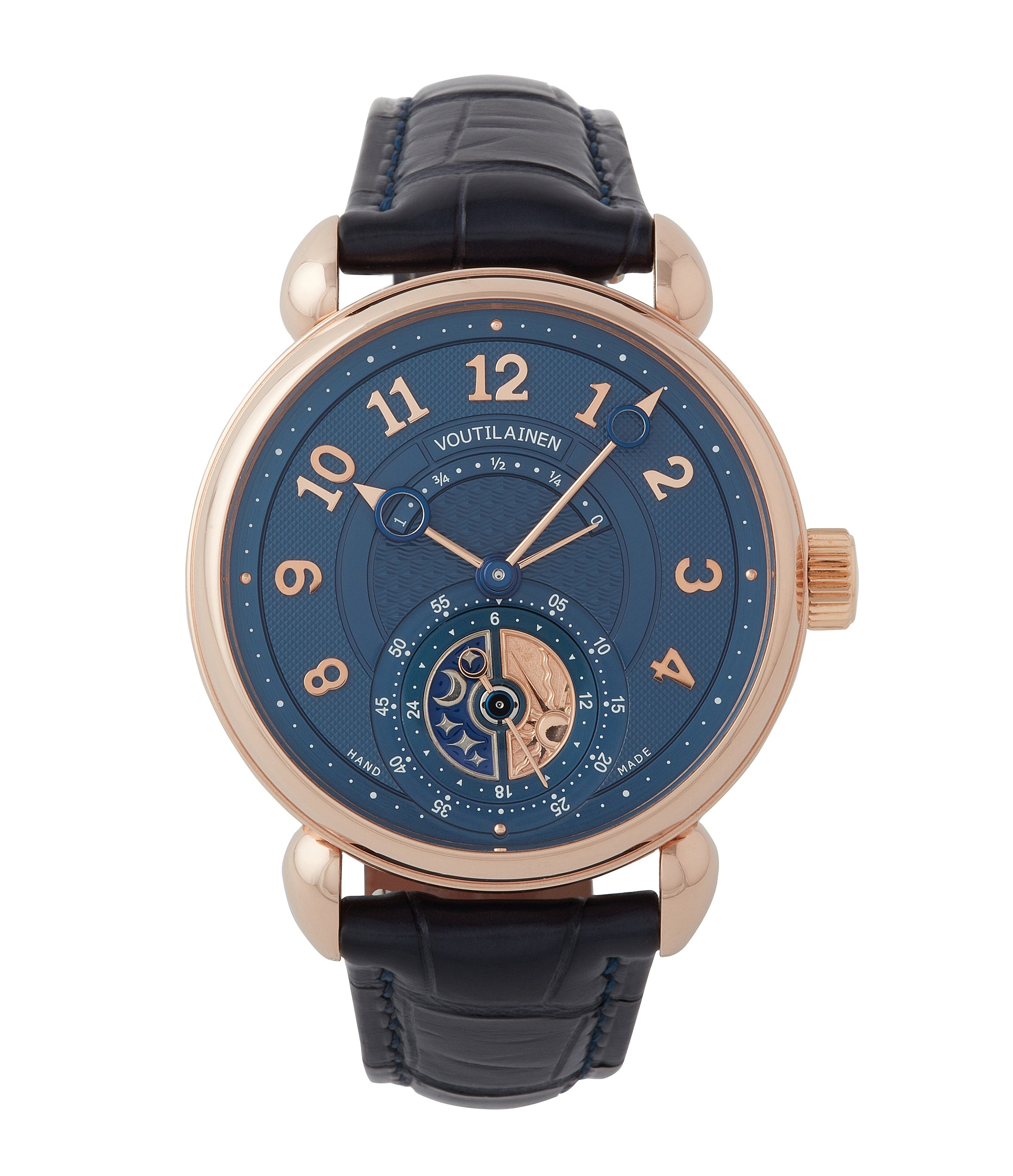 buy Voutilainen unique piece GMT power reserve rose gold dress watch blue dial for sale online at A Collected Man London UK specialist of rare watches