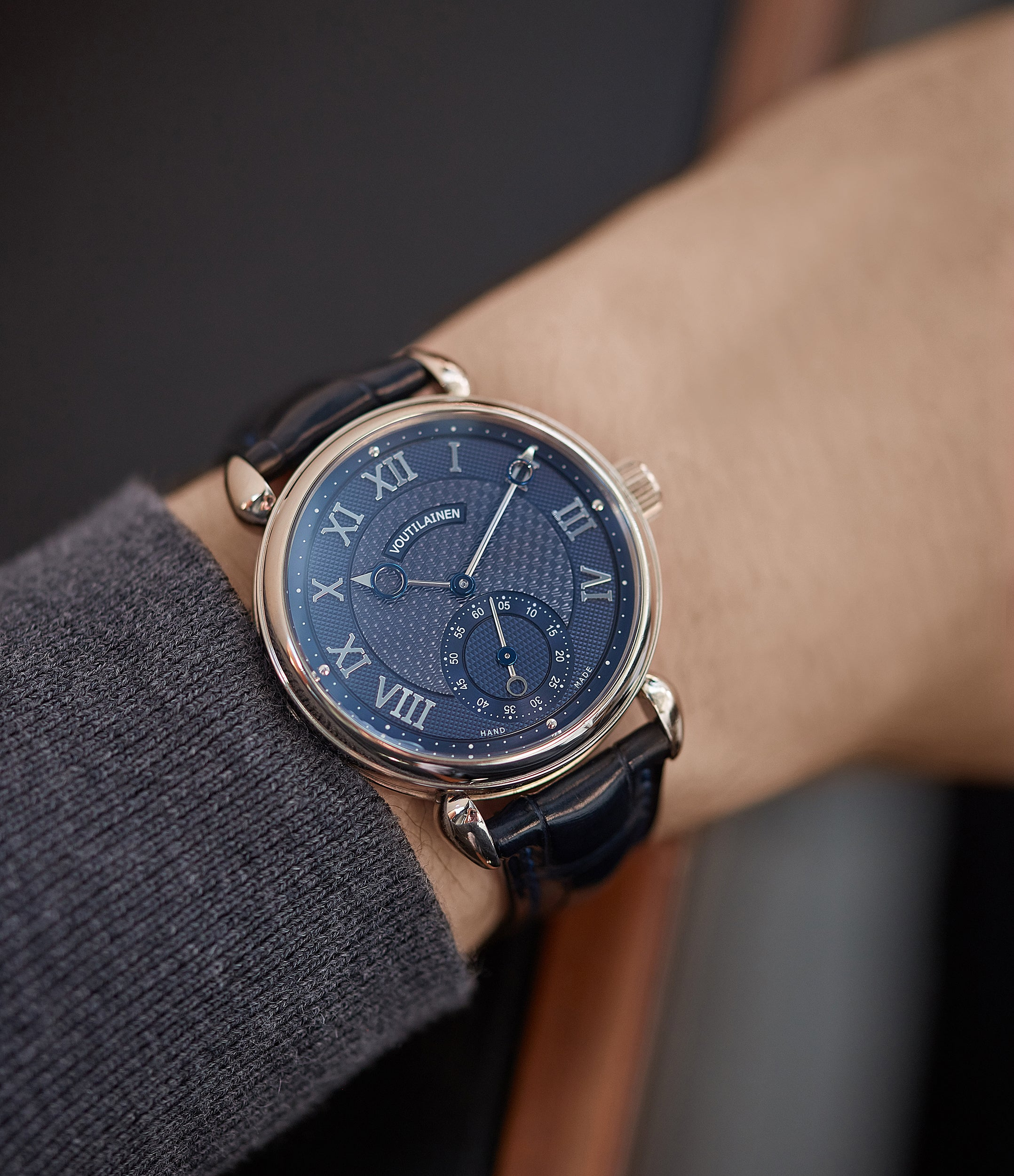 hands-on with Kari Voutilainen's first-ever pre-series Vingt-8 Cal. 28 blue dial white gold watch at A Collected Man London approved re-seller of independent watchmakers