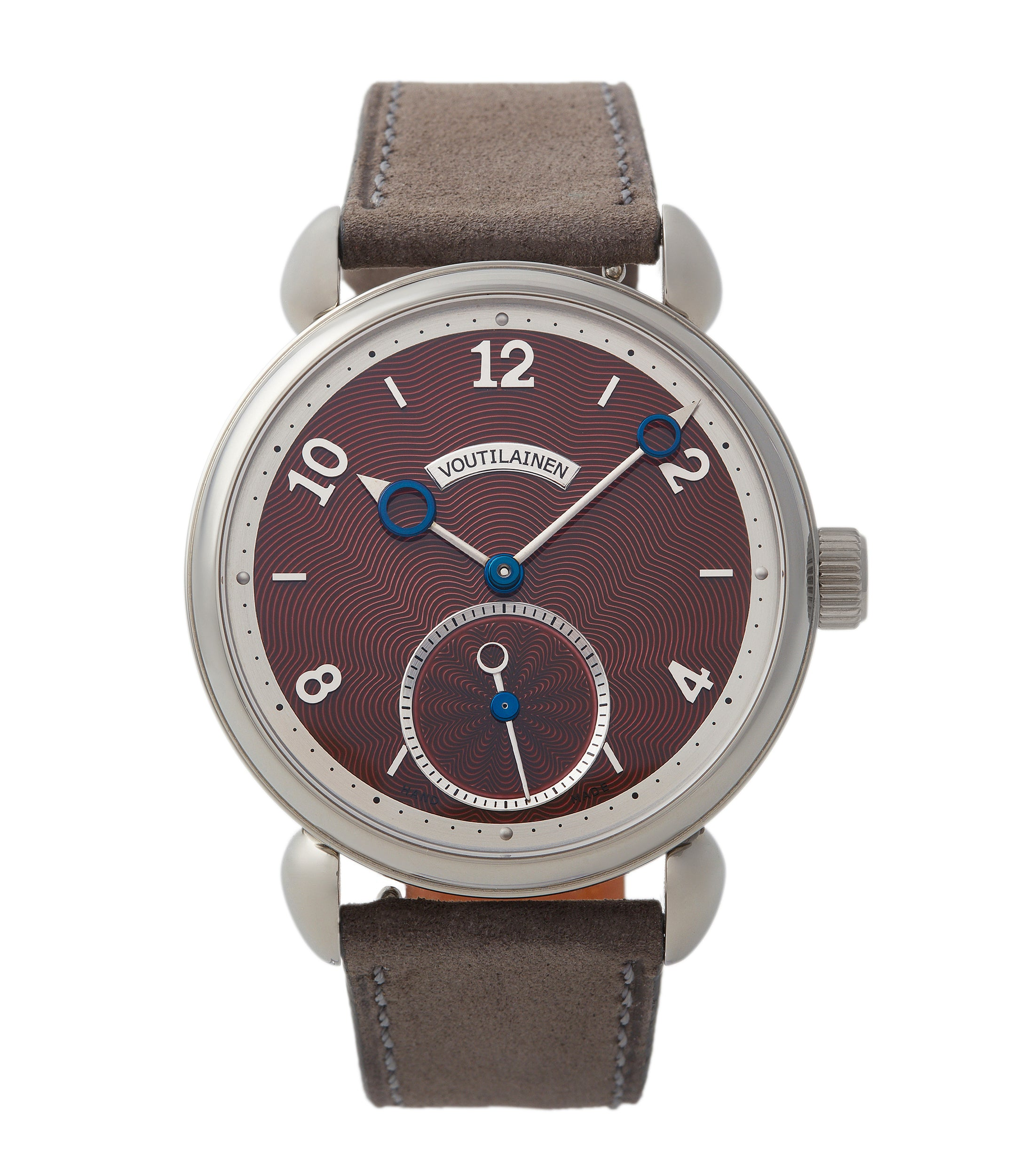 buy Kari Voutilainen Vingt-8 Limited Edition titanium burgundy red dial pre-owned watch for sale online A Collected Man London