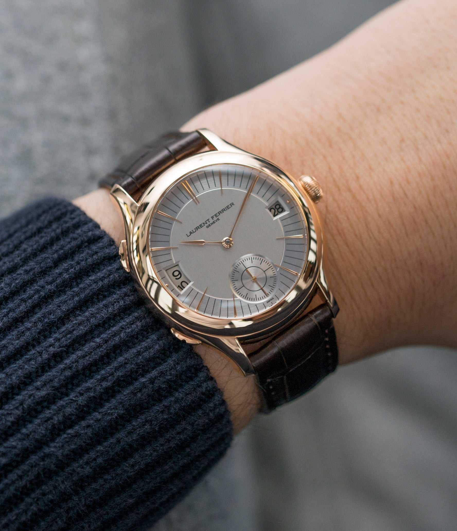 buy luxury wristwatch Laurent Ferrier Galet Traveller Micro Rotor LF 230.01 rose gold watch additional prototype dial for sale online at A Collected Man London UK approved reseller of preowned independent watchmakers