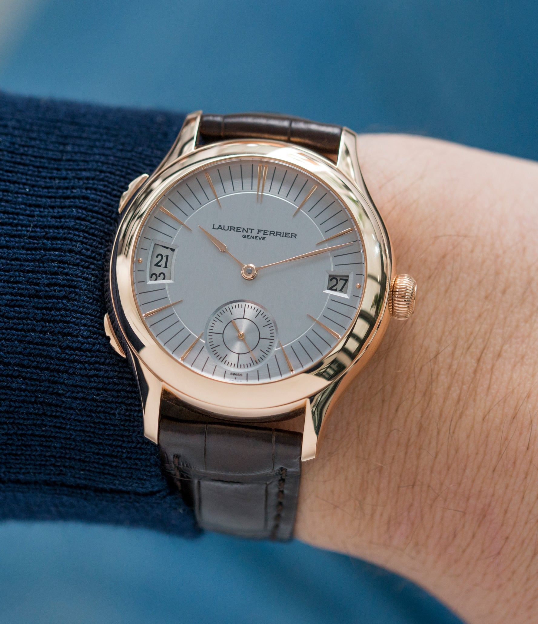 men's luxury wristwatch Laurent Ferrier Galet Traveller Micro Rotor LF 230.01 rose gold watch additional prototype dial for sale online at A Collected Man London UK approved reseller of preowned independent watchmakers