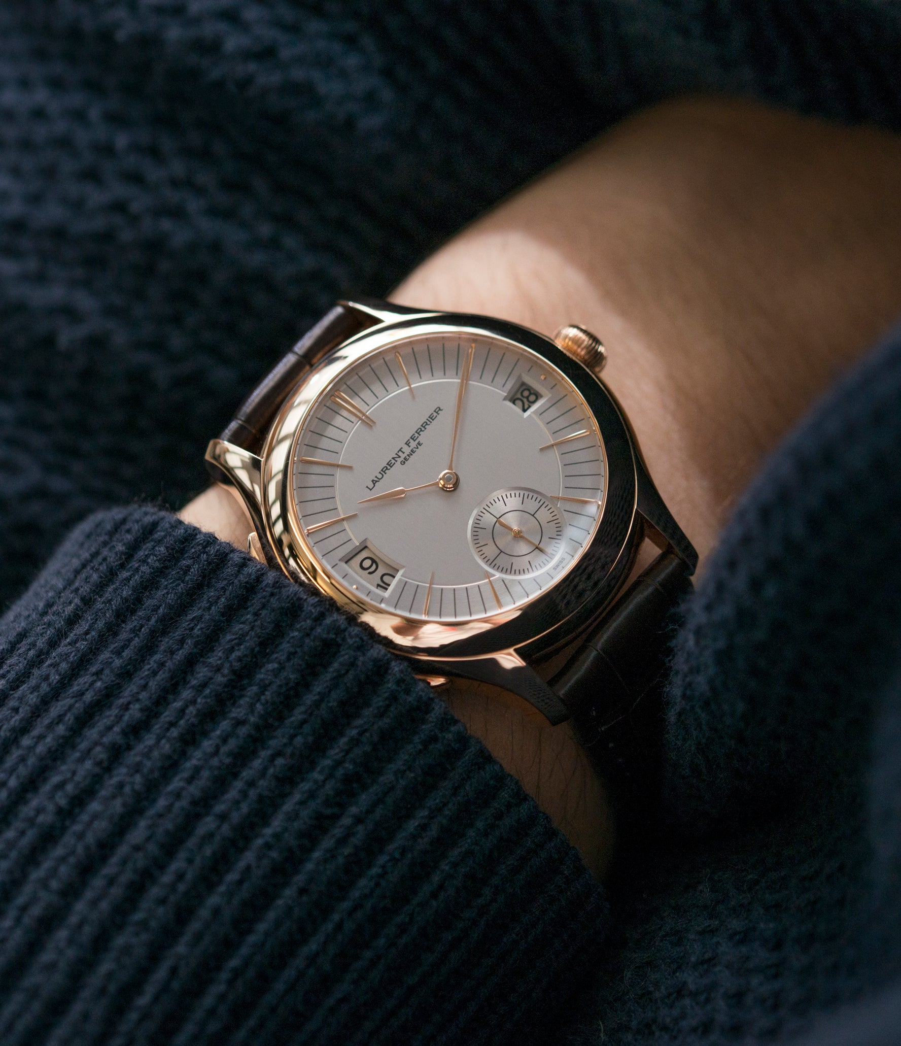 on the wrist Laurent Ferrier Galet Traveller Micro Rotor LF 230.01 rose gold watch additional prototype dial for sale online at A Collected Man London UK approved reseller of preowned independent watchmakers