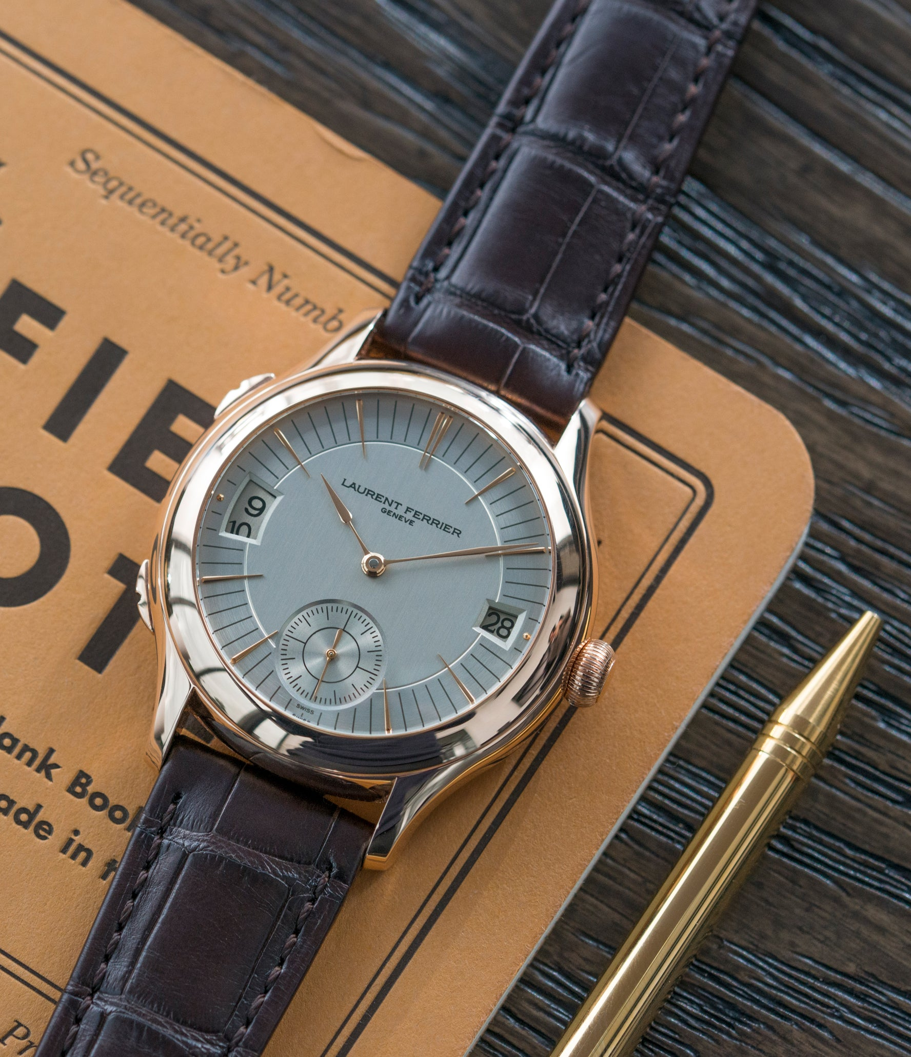 Galet Traveller Laurent Ferrier Micro Rotor LF 230.01 rose gold watch additional prototype dial for sale online at A Collected Man London UK approved reseller of preowned independent watchmakers