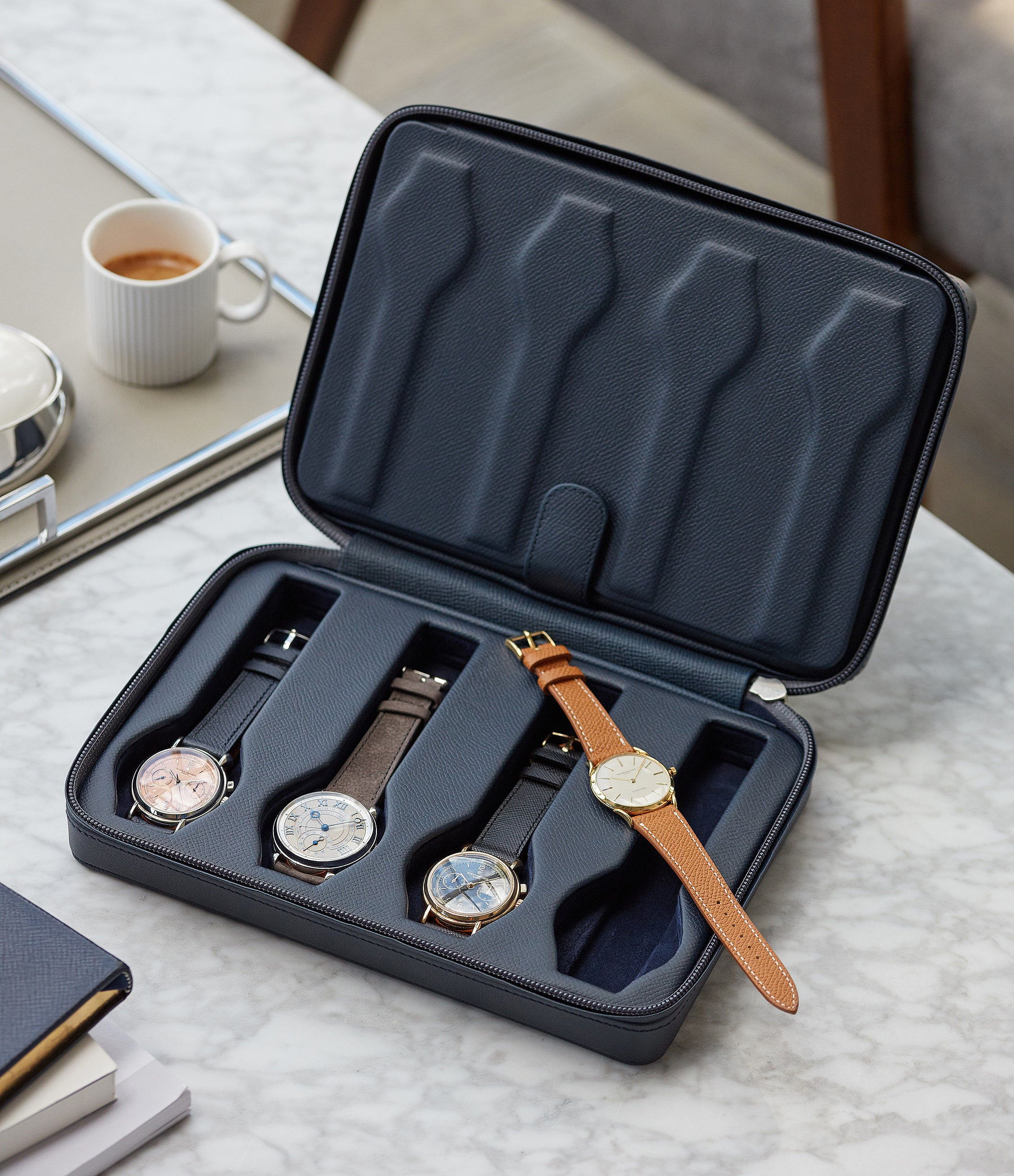 navy calfskin watch case holder accessories eight watches order online A Collected Man London