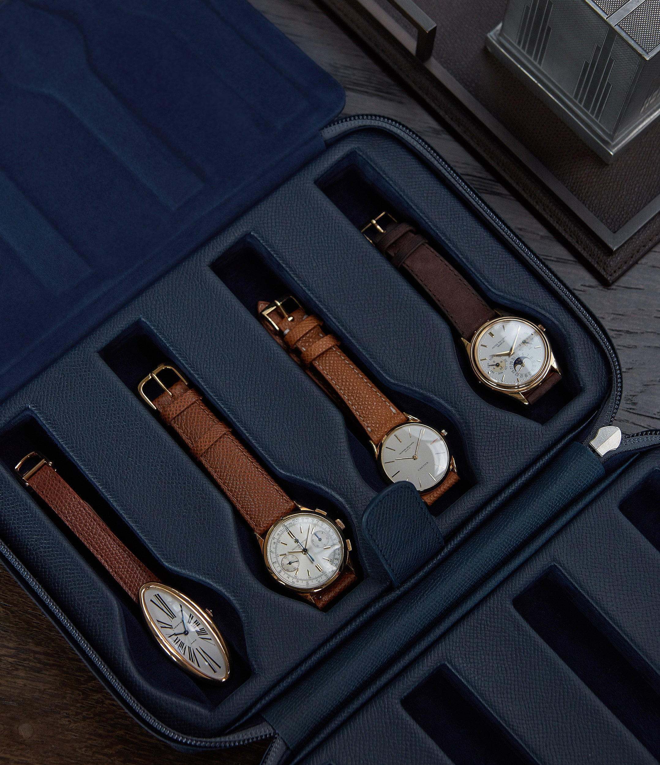 selling navy calfskin watch case holder accessories 8 watches order online A Collected Man London