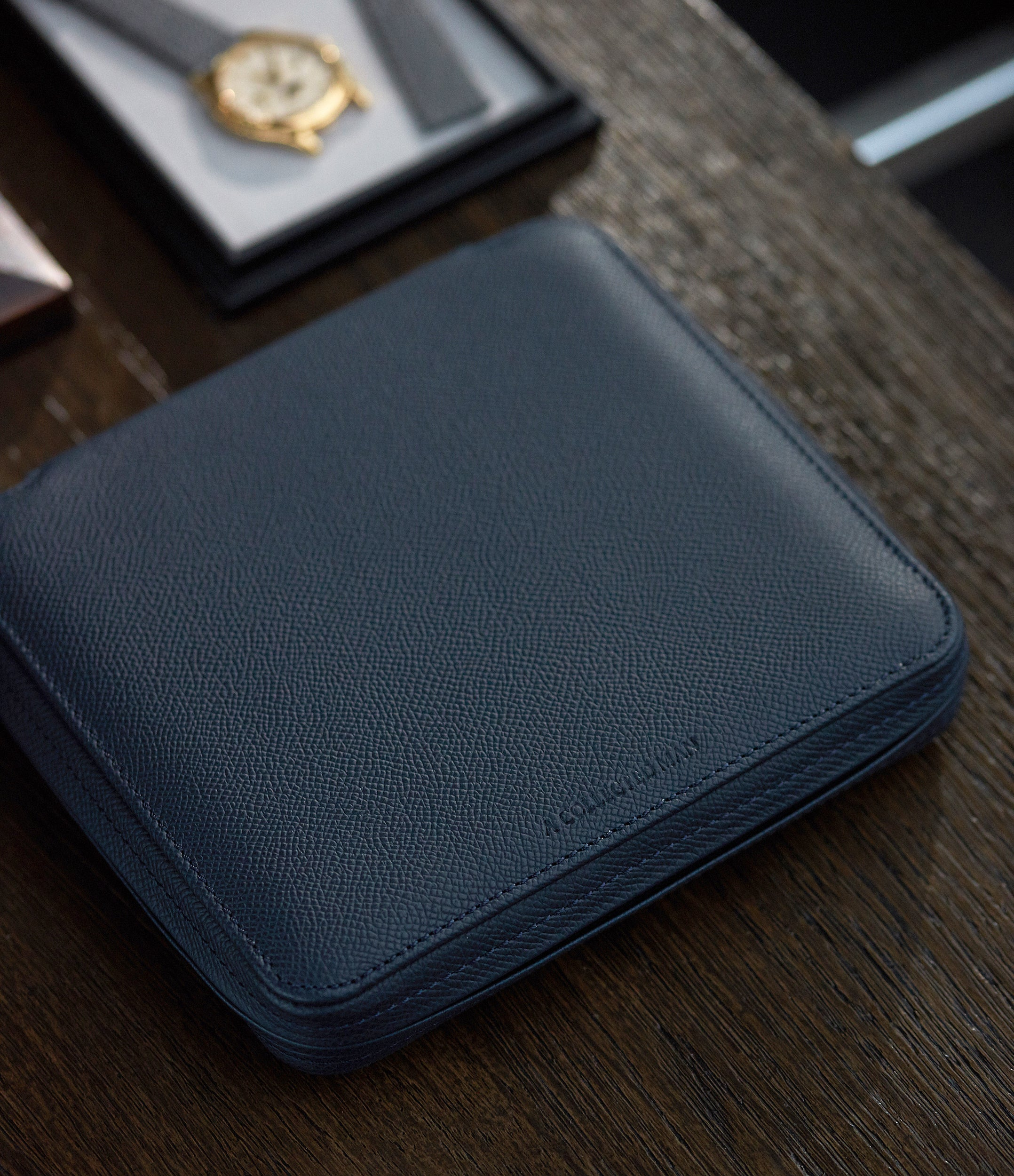 selling navy blue calfskin La Rochelle watch travel zip pouch accessories 6 watches order online A Collected Man London