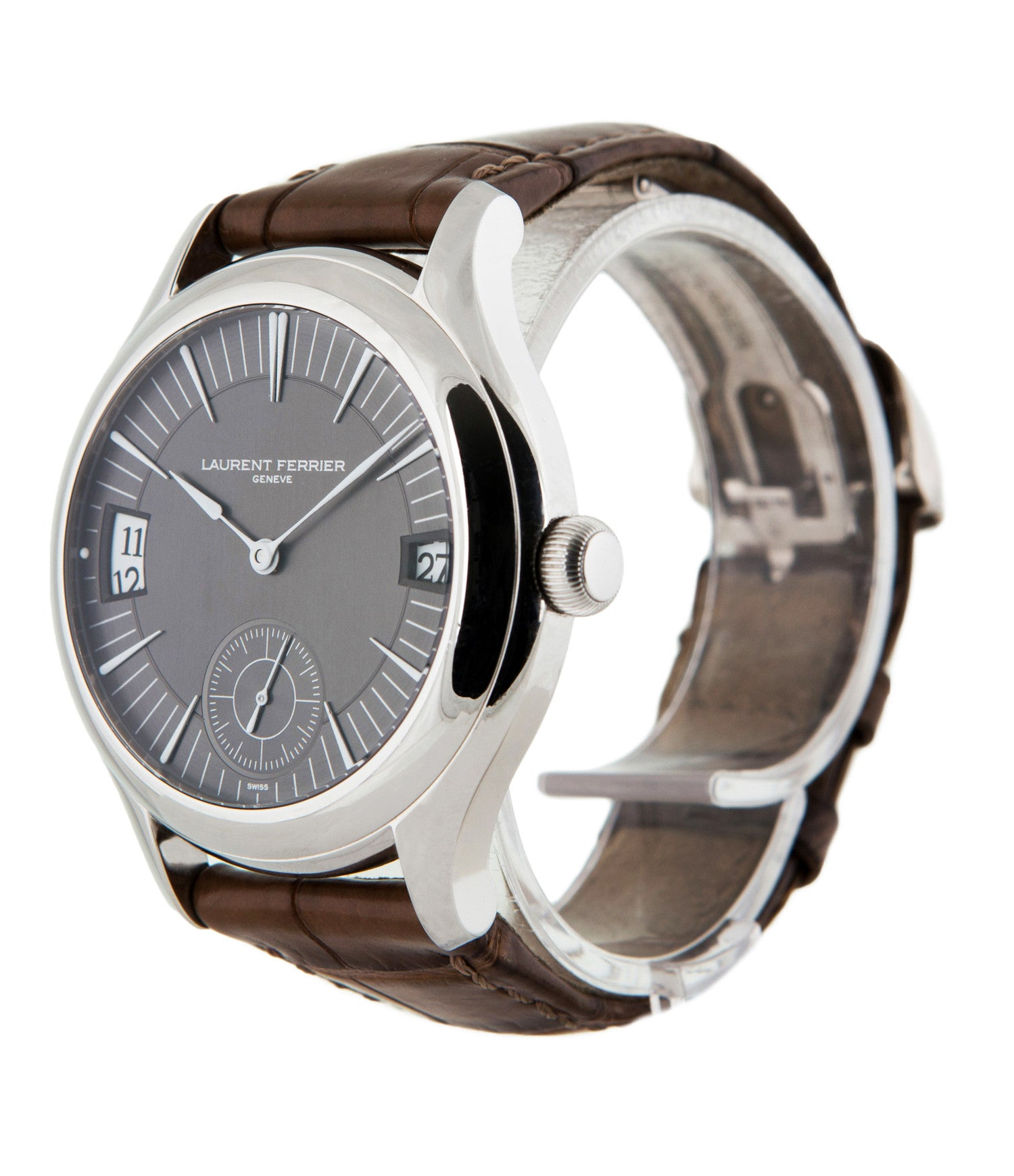 prototype Laurent Ferrier Galet Traveller LCF 007-AC unique stainless steel automatic Cal. LF 230.01 authentic pre-owned rare luxury dress watch from 2013 with solid silver dial and applied 18K white gold indexes dial side shot