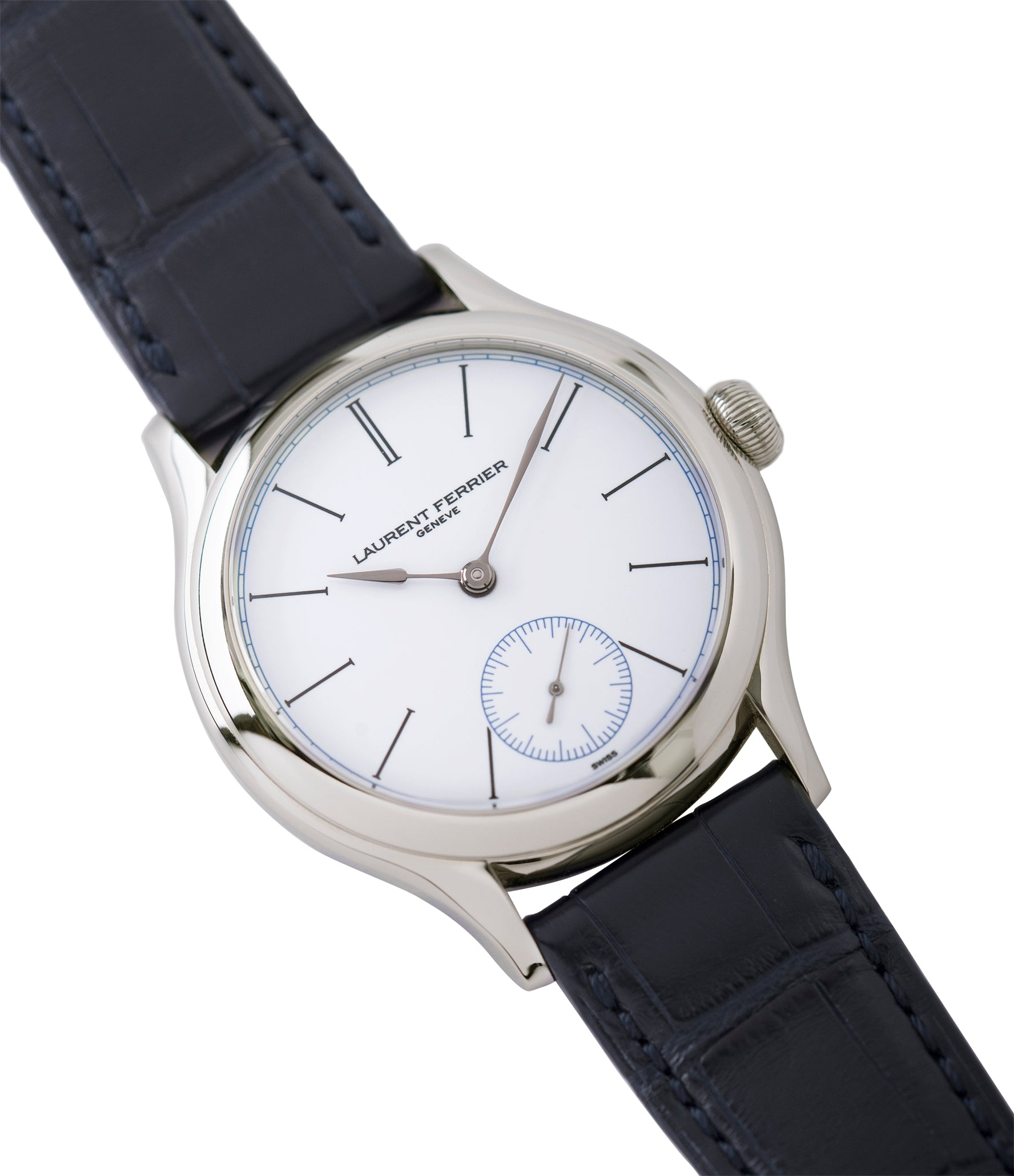 shop Laurent Ferrier Galet Micro-Rotor FBN 230.02 Enamel dial steel watch for sale online at A Collected Man London UK approved seller of independent watchmaker Laurent Ferrier