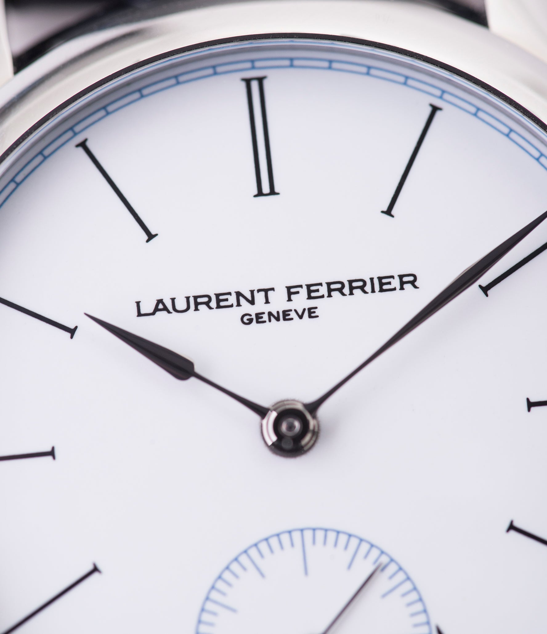 white enamel dial Laurent Ferrier Galet Micro-Rotor FBN 230.02 Enamel dial steel watch for sale online at A Collected Man London UK approved seller of independent watchmaker Laurent Ferrier